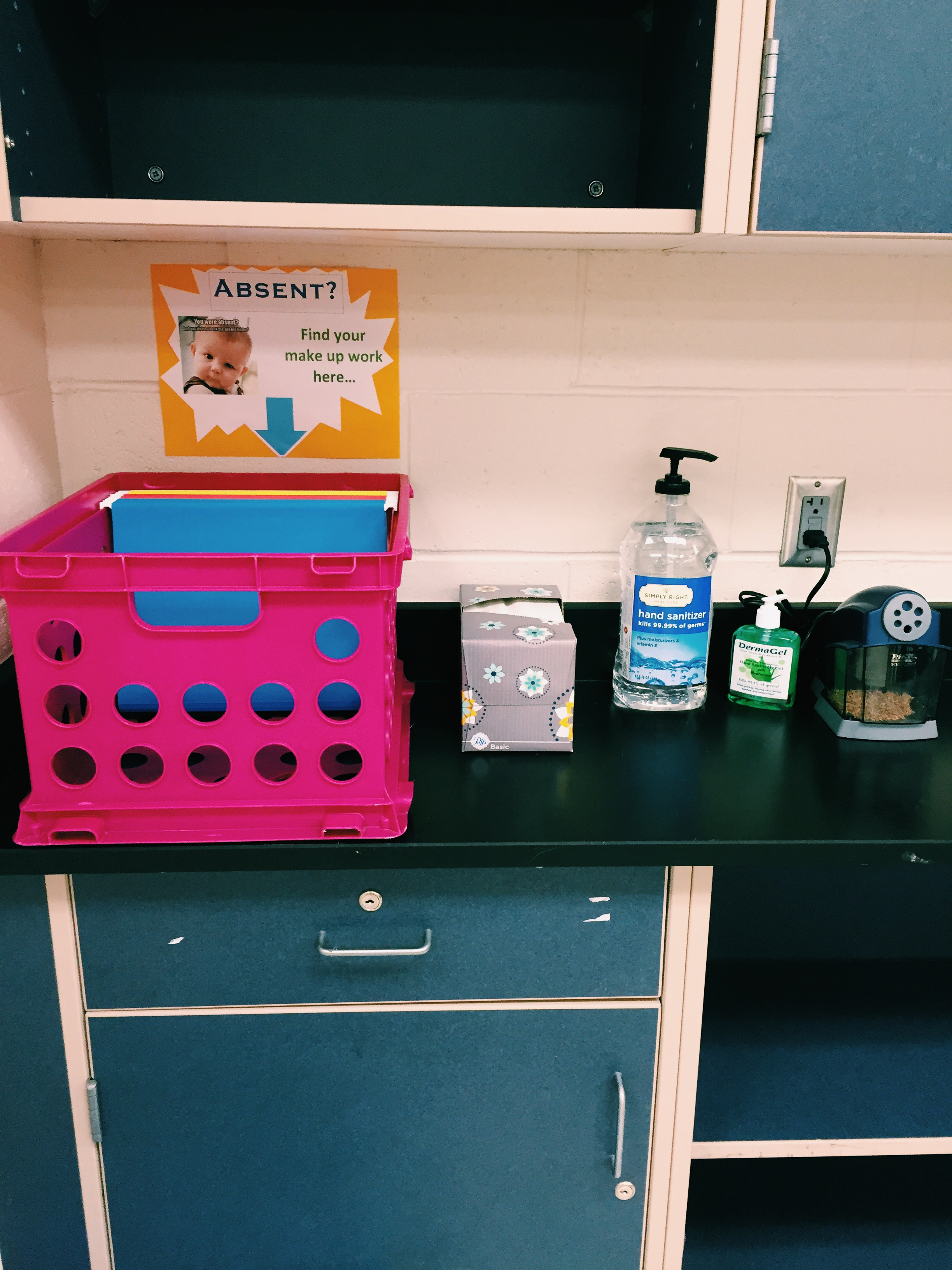 """This is the """"get what you need"""" station that I allow students to access freely."""