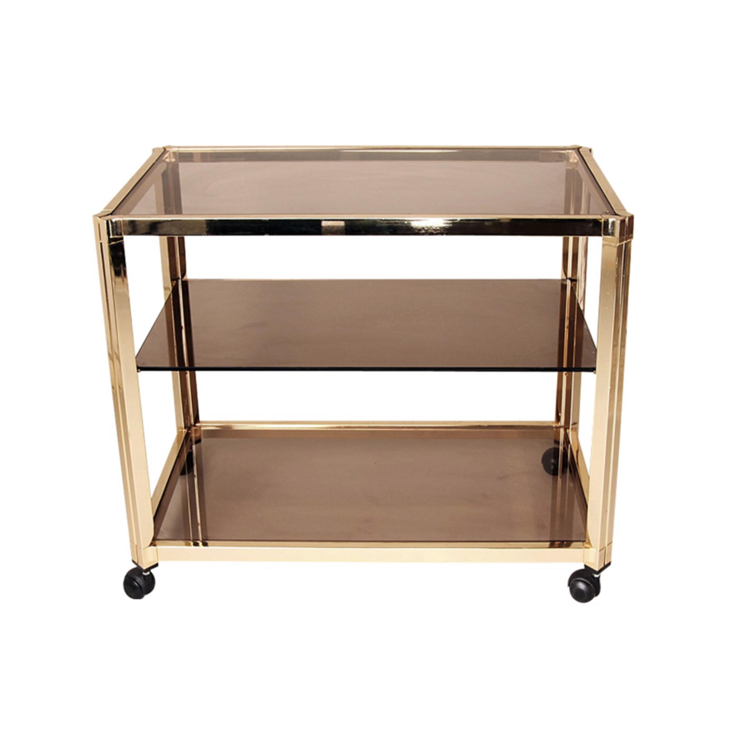 Three-Tier Smoked Glass Brass Bar Cart