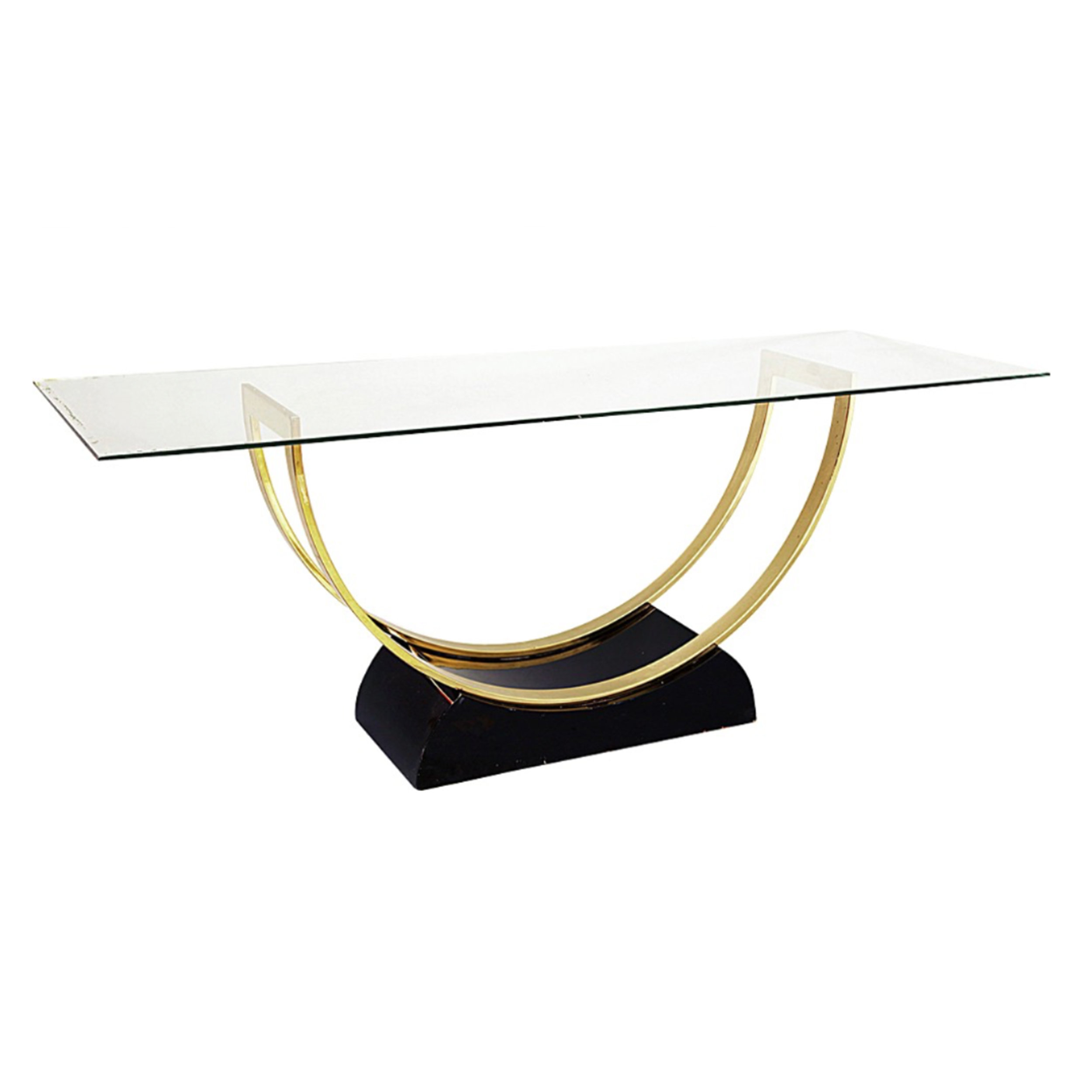 Elegant Black Lacquered and Brass Console Table