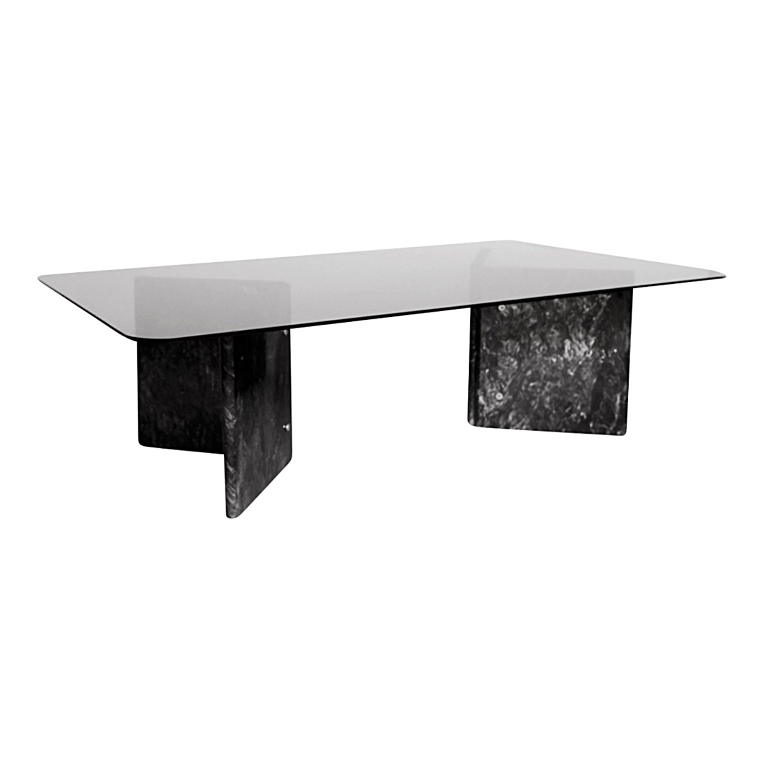 Black Carrara Marble Coffee Table with Glass Top