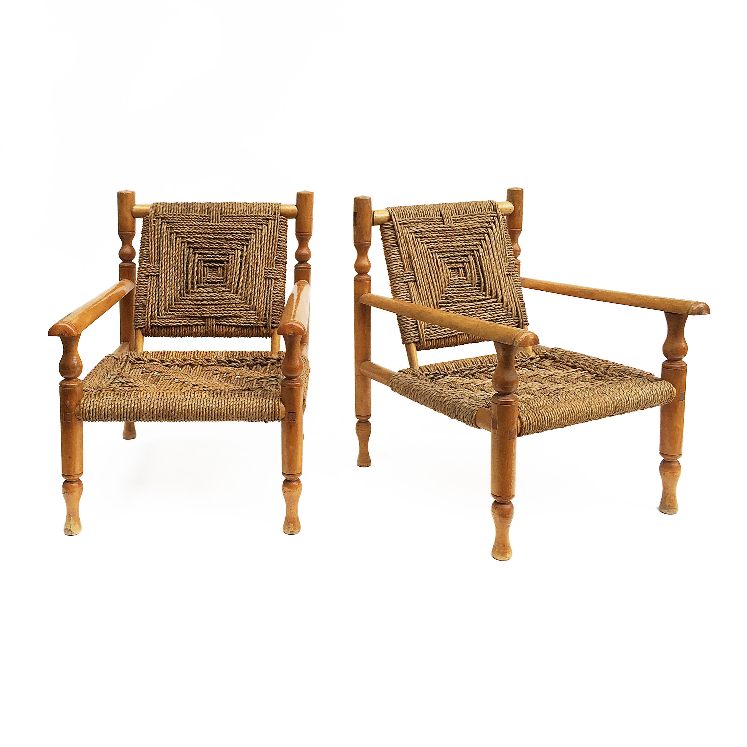 Charlotte Perriand Style Sisal Rope Armchairs
