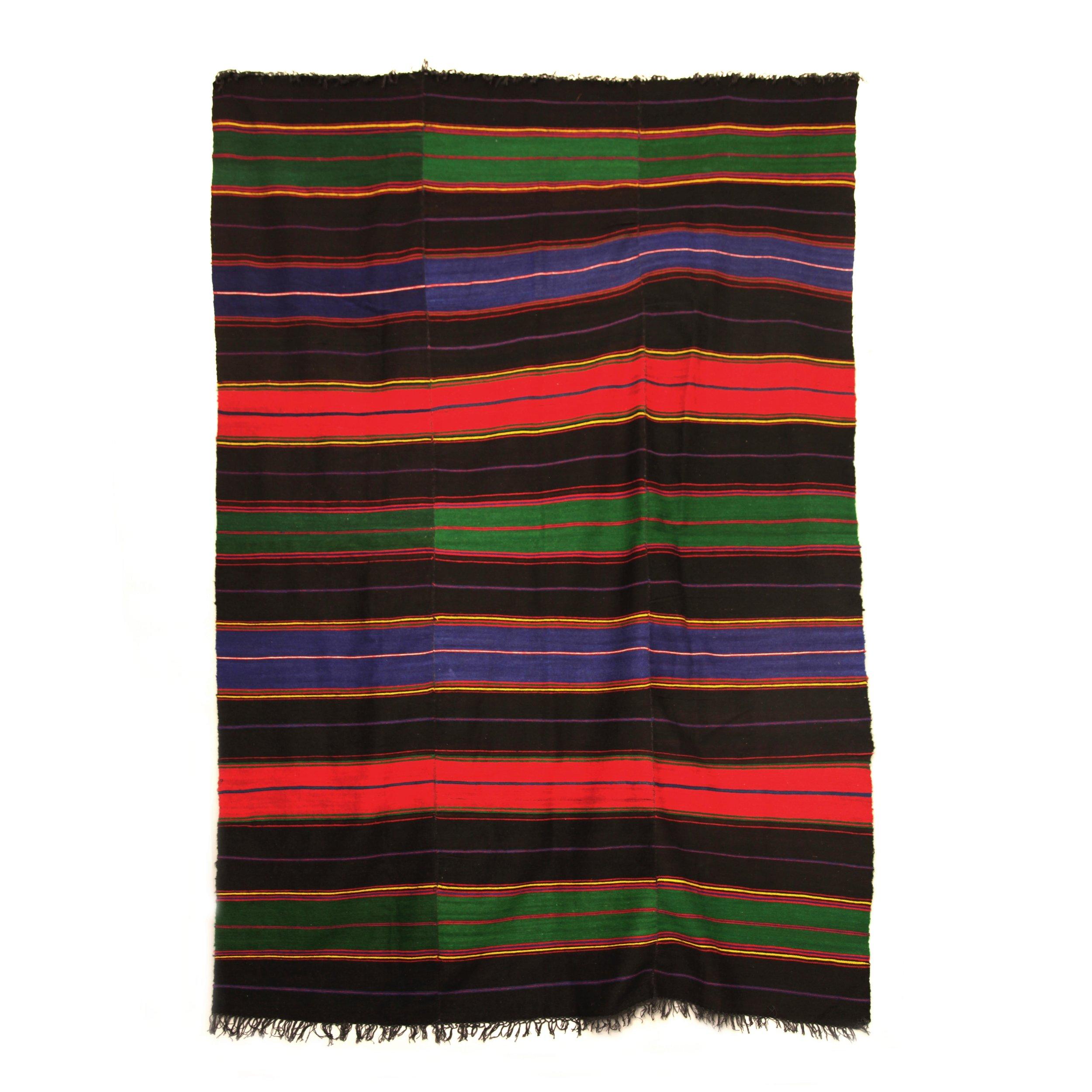 XL Handmade Black and TriColour Wool Rug