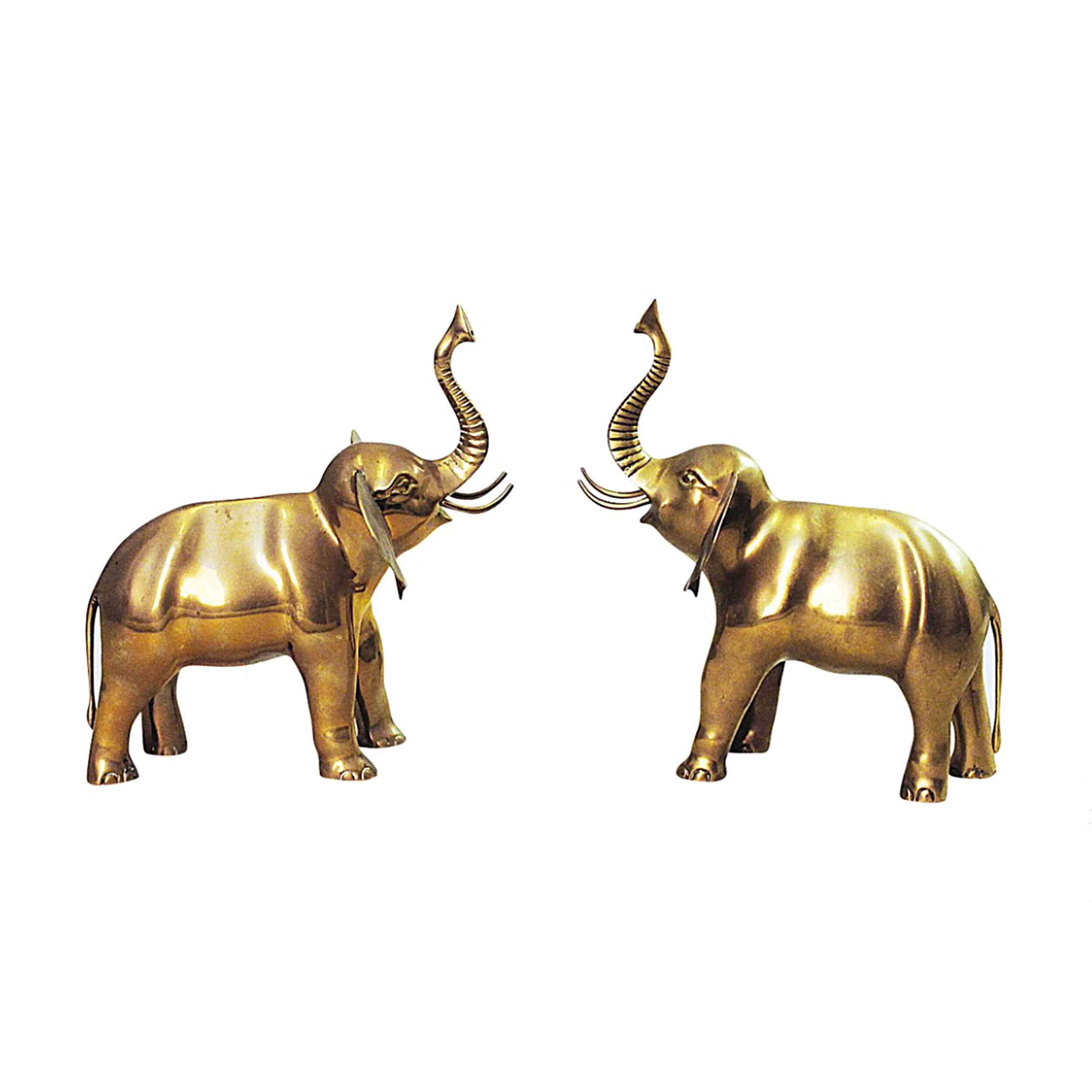 Brass Pair of Vintage Elephants