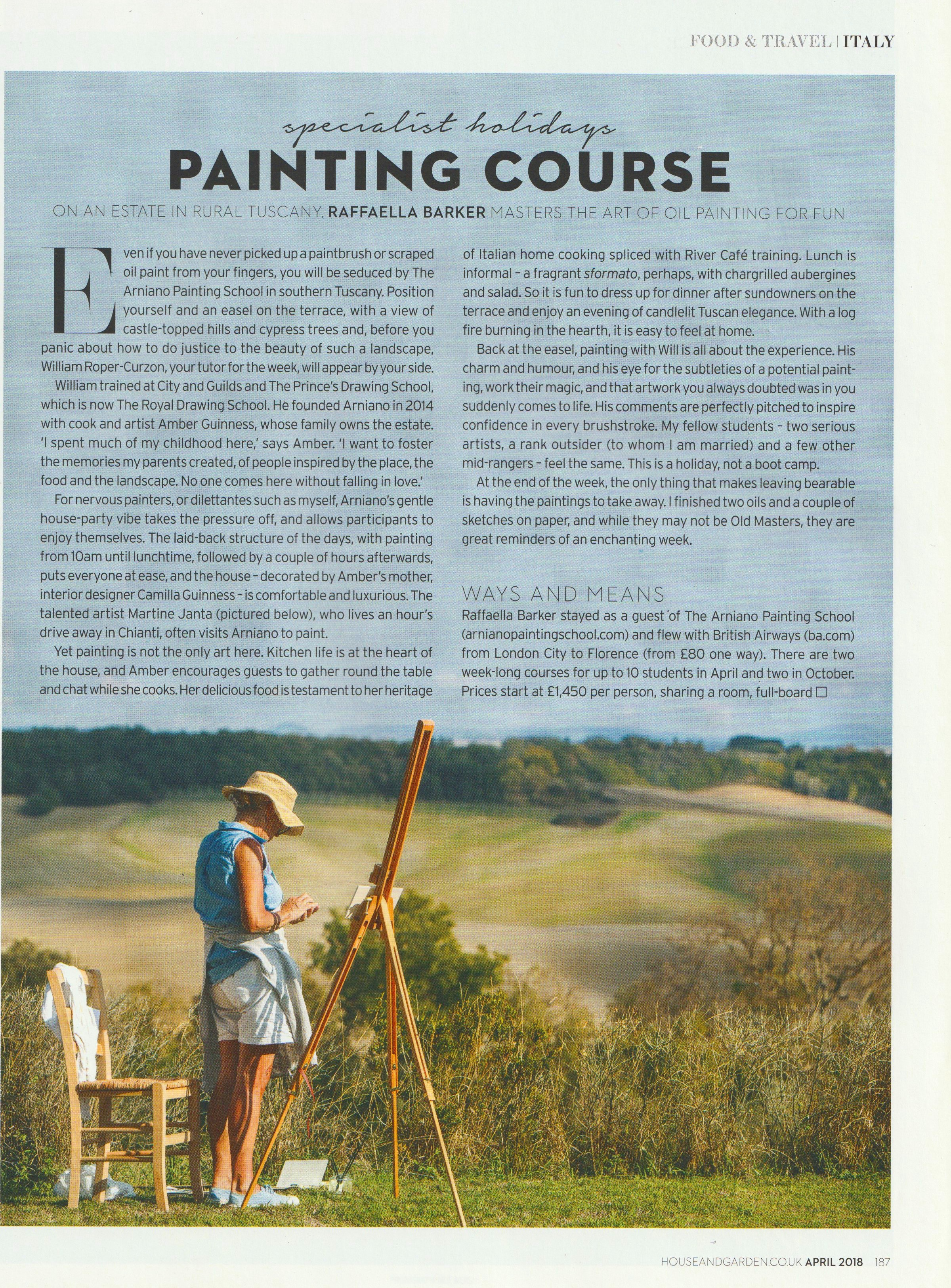 Raffaella Barker's review of The Arniano Painting School appeared in the April 2018 issue of House & Garden