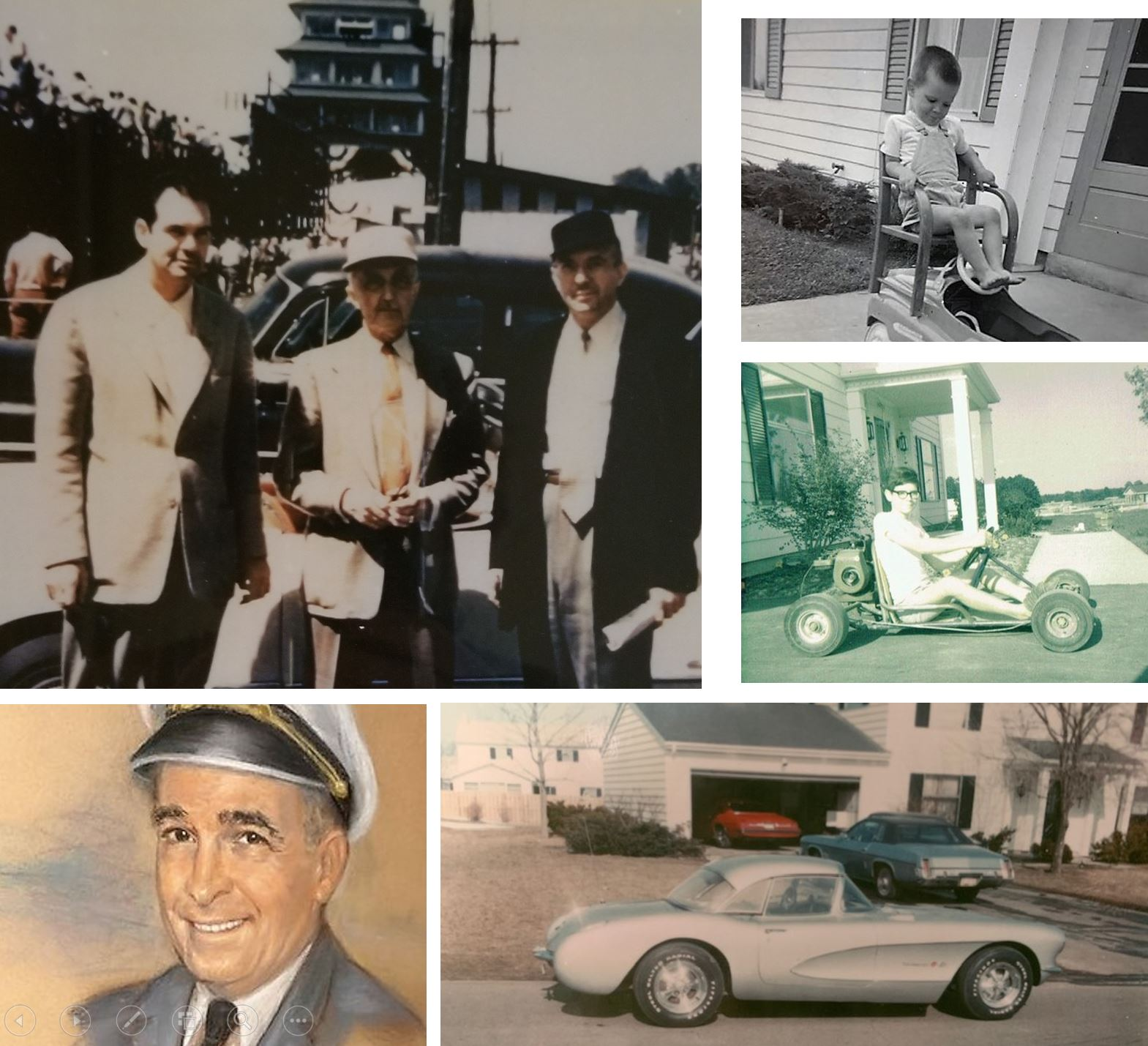Top left: My uncles Dick, Ray Haroon and Norm Schafer at the IMS standing in front of a 1954 Corvette.  Bottom left: Grandpa Otto Schafer. Top right/middle: My first 'car' was a Peddle car, followed by my first powered car, a Go-cart, then the first of six corvettes.