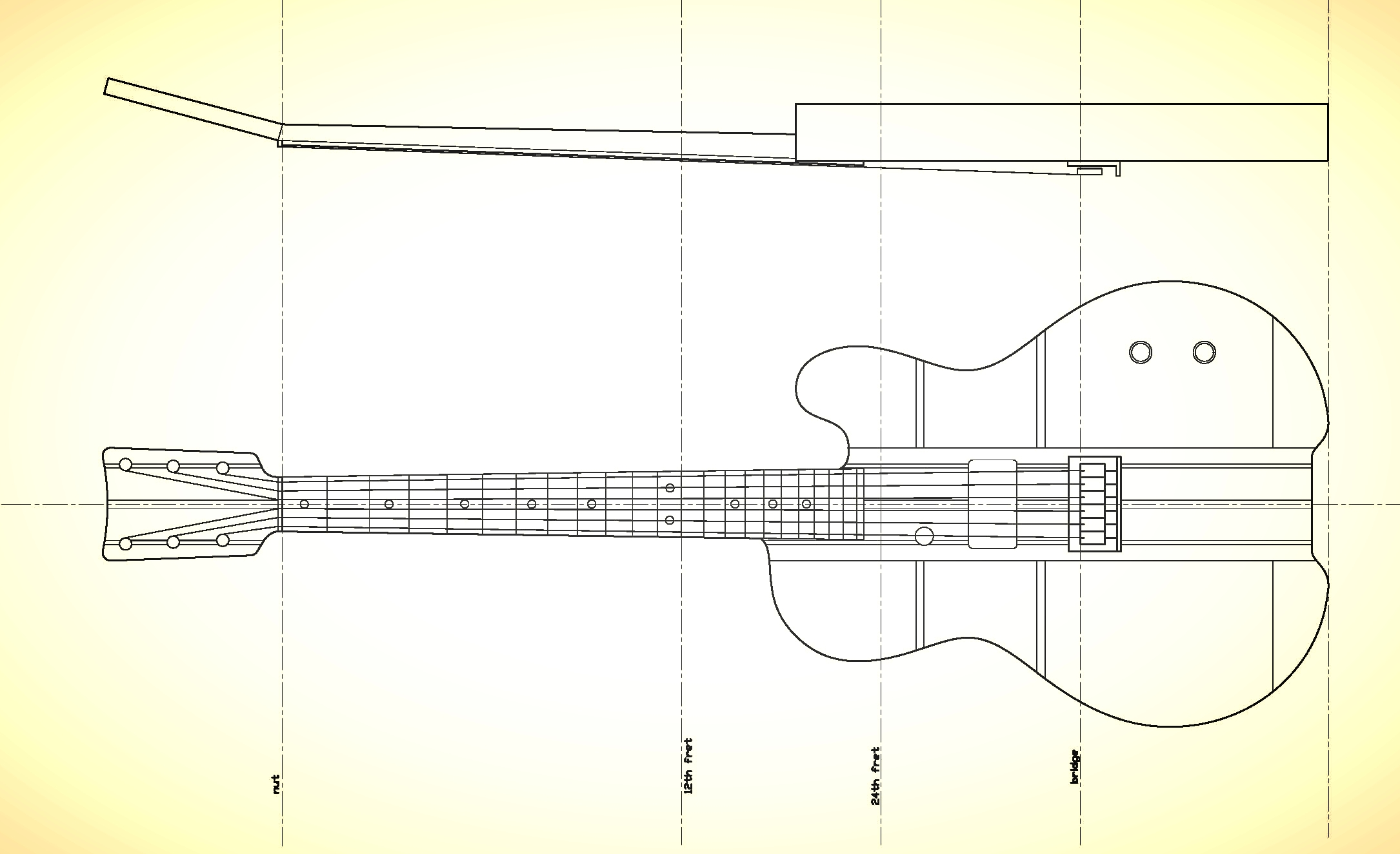 """The final assembly drawing. 24-3/4"""" scale length and all the angles figured out."""