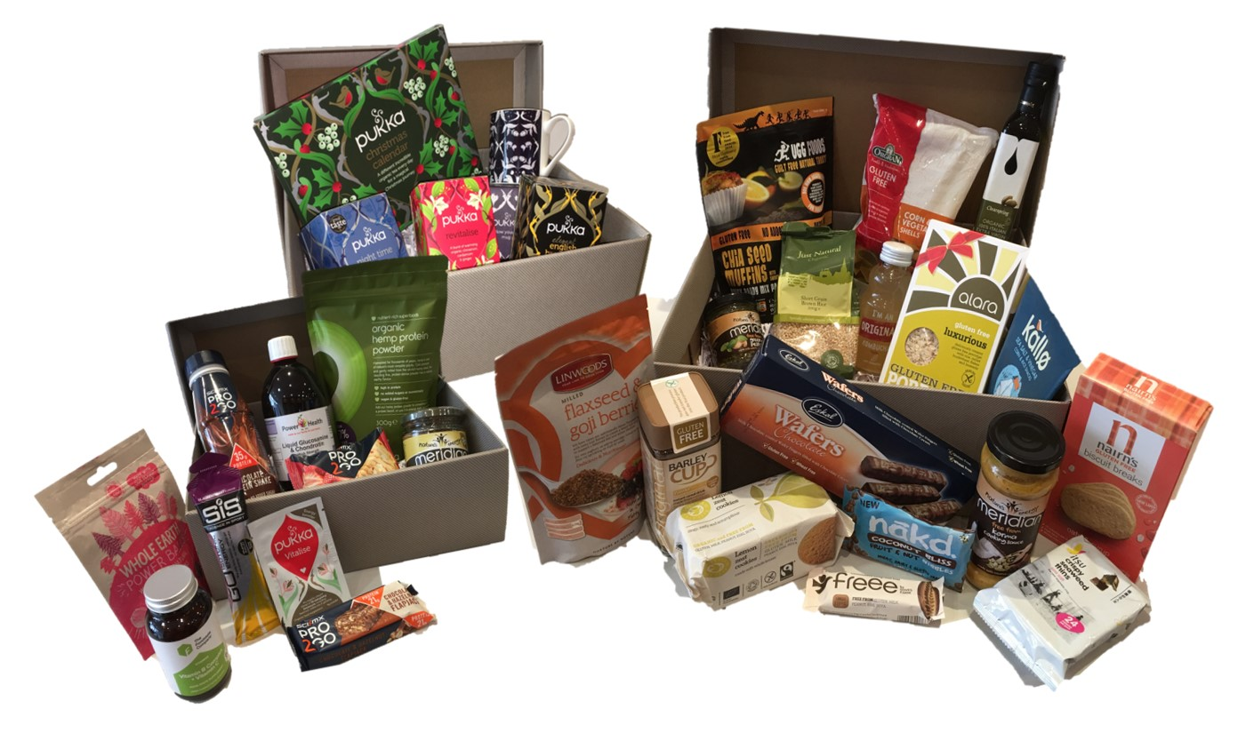 Sports & Fitness, Tea Lovers and Large Gluten Free Hampers (left to right)