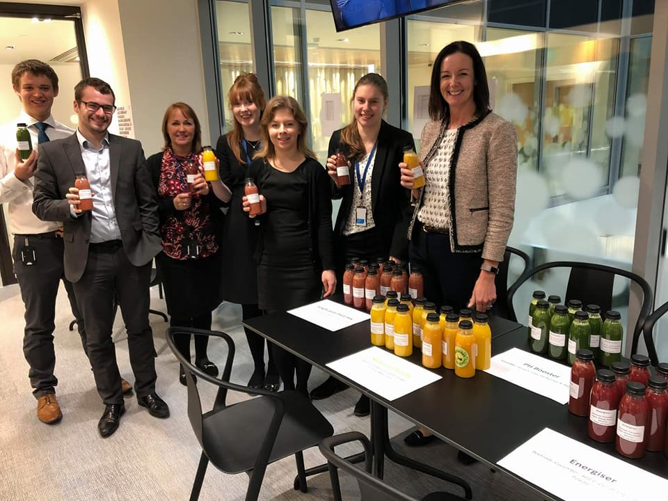A juice tasting for Deloitte's Wellbeing event in January