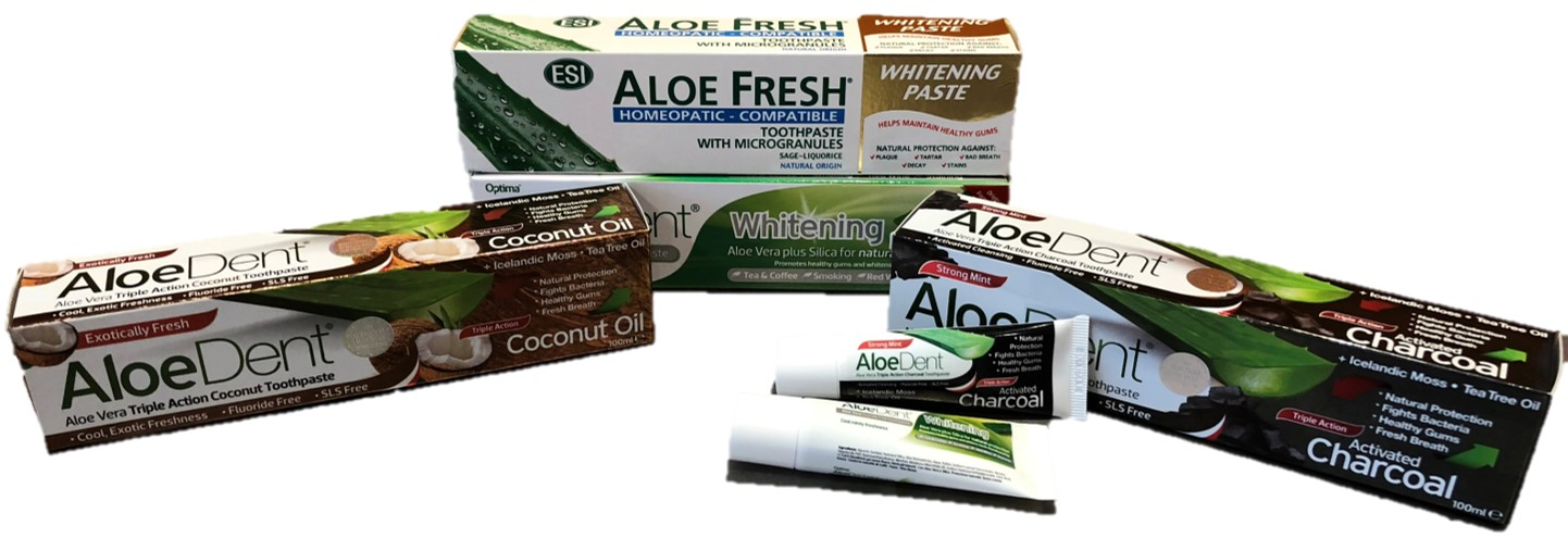 At Barannes we sell a range of Aloe Dent natural toothpastes.
