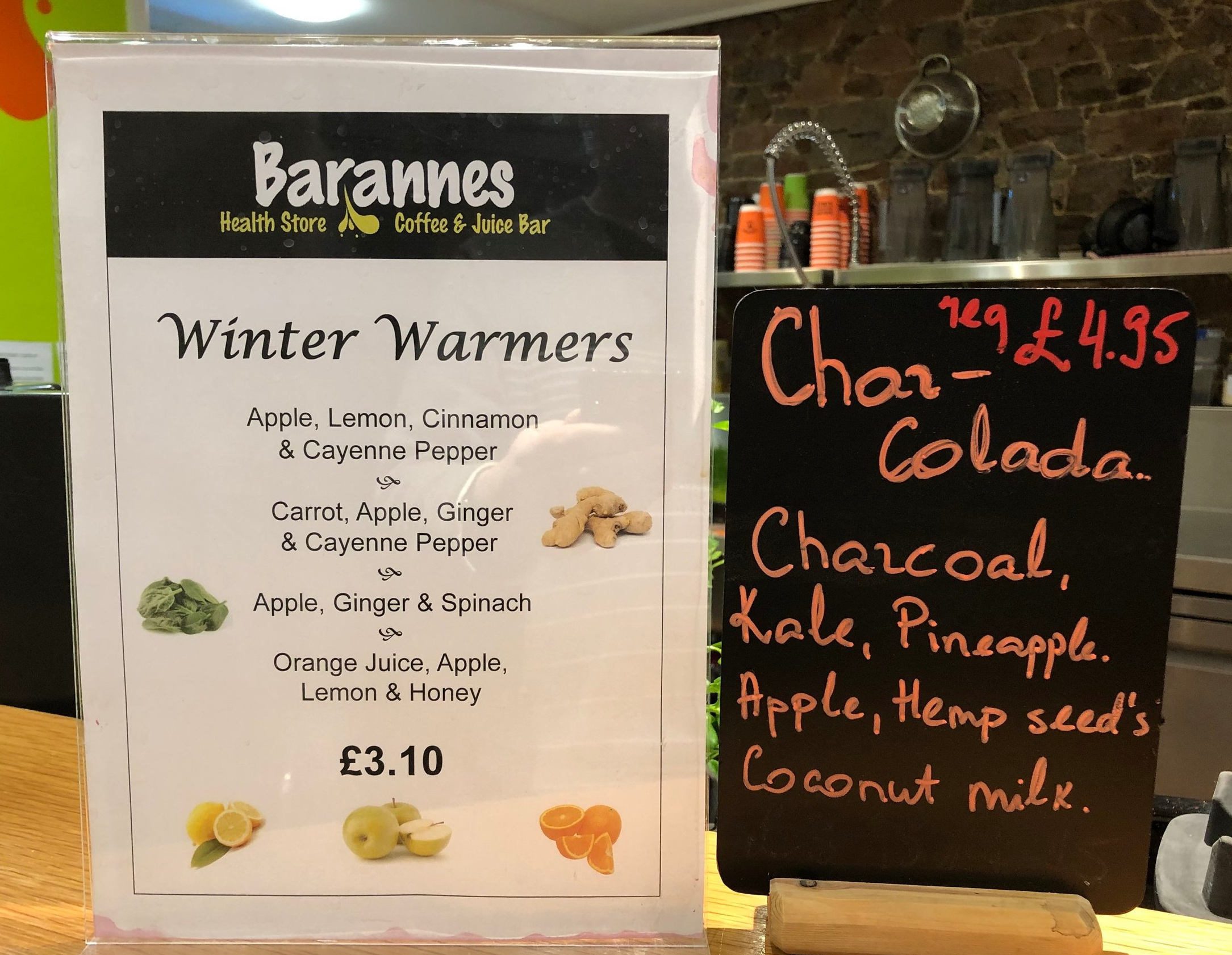 Winter Warmers and the Char-Colada are available at both our Juice Bars