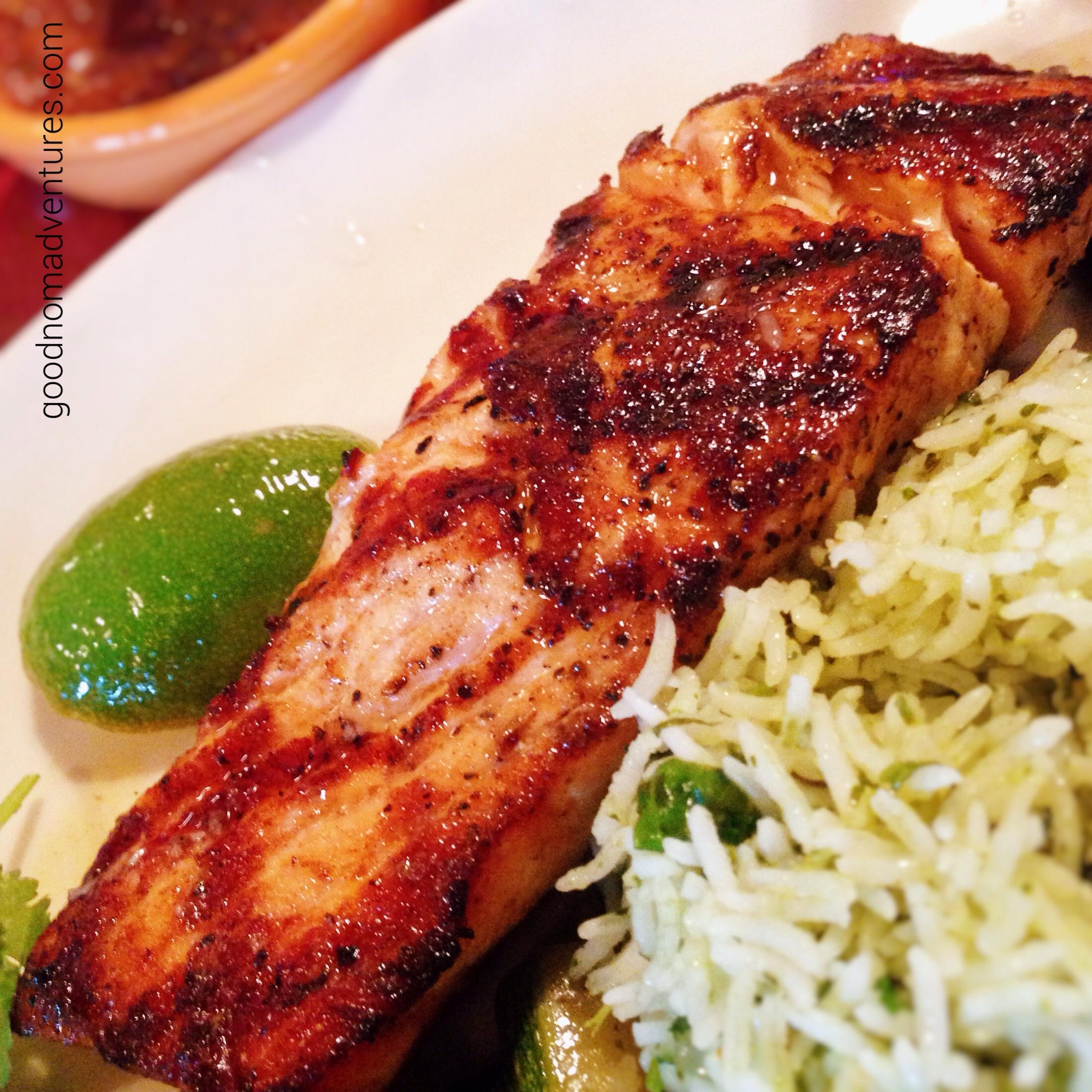 Mesquite-grilled salmon and cilantro rice