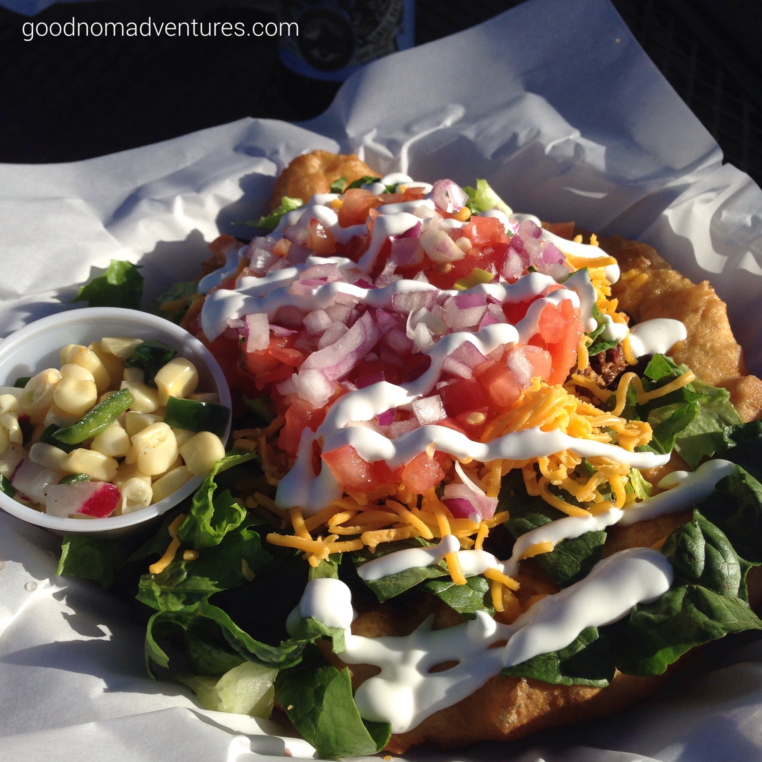 Indian Taco with shredded bison
