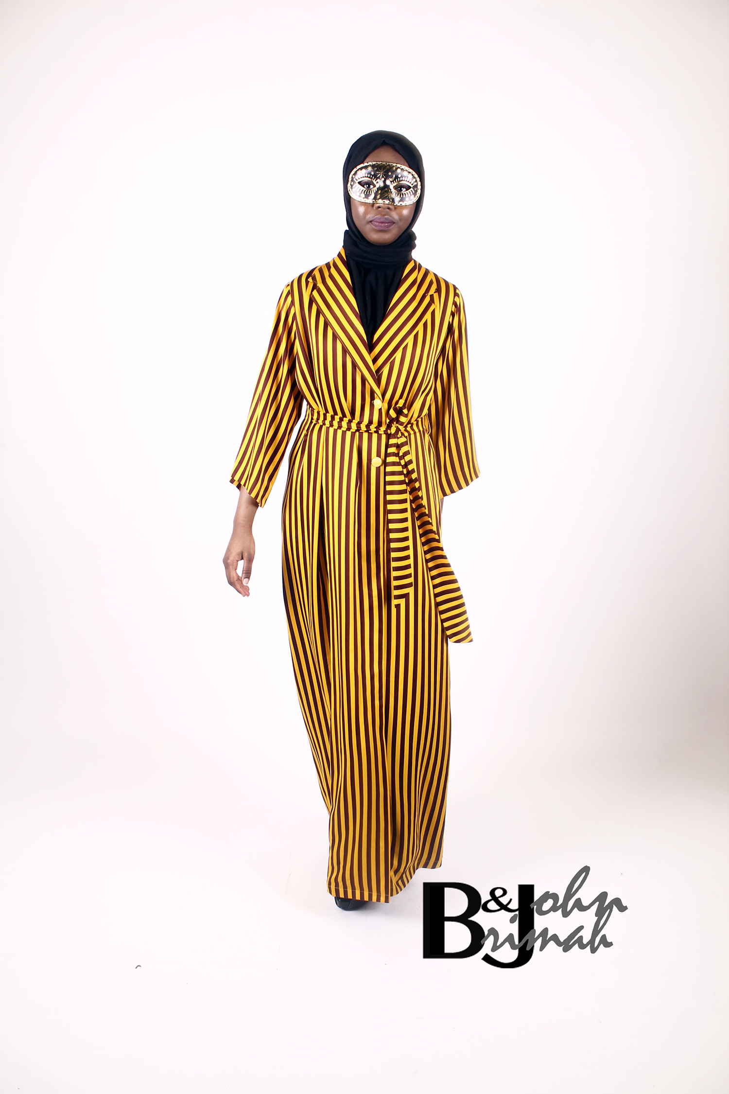 Striped Mustard Wrap Dress