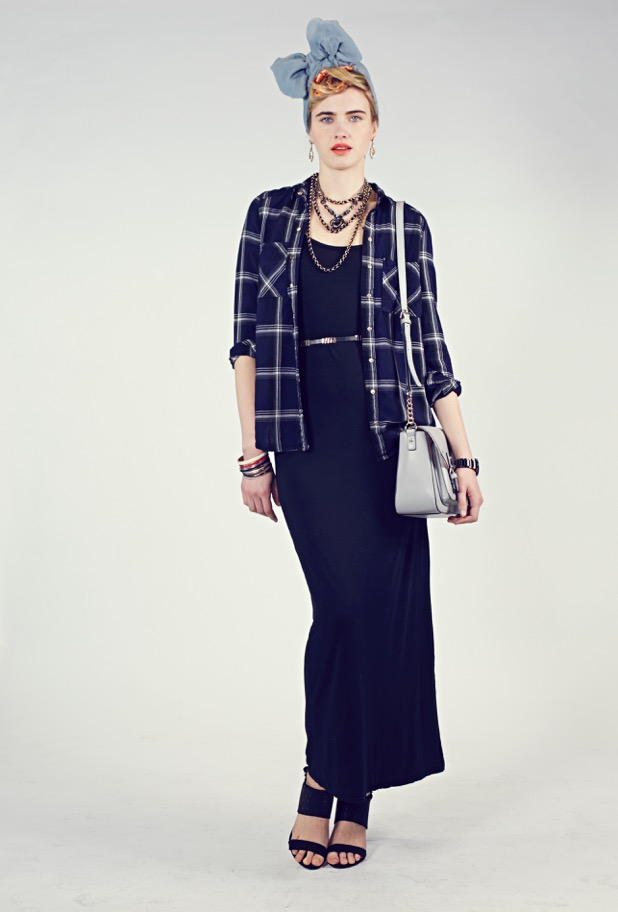 Layered a plaid long sleeve shirt over a basic sleeveless black dress
