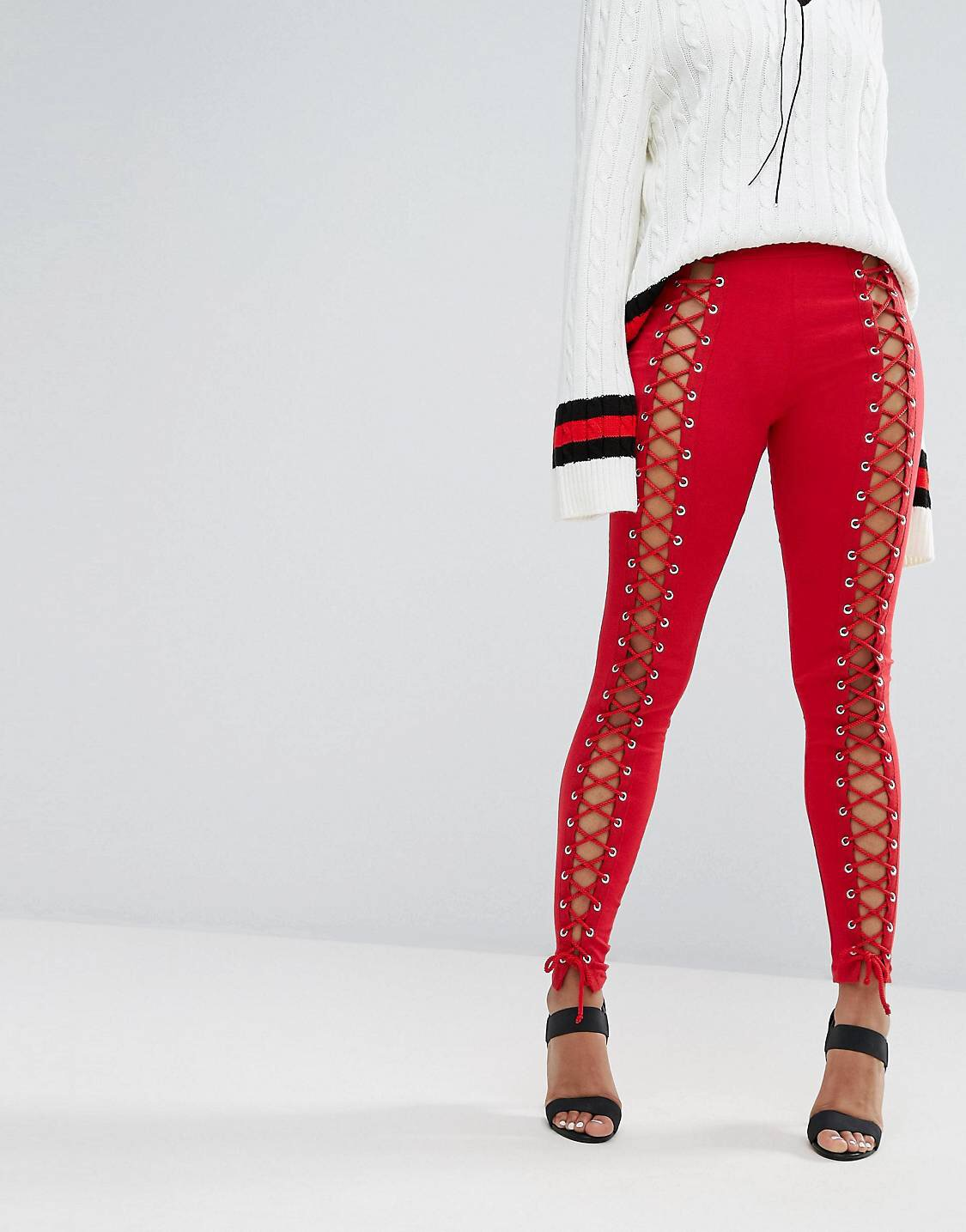 Leggings - I'm a little on the fence about these lace up leggings, they scream misbehave to me, but I honestly can't picture how I personally would rock em. So Ima pretend I'm styling my hot friend Rihanna.I'd all red it. Stick her in a matching red shirt, undo the buttons and over the shoulder it.Complete the look with a white shoelace choker tied into a bow.Hair? I'd high pony tail it.