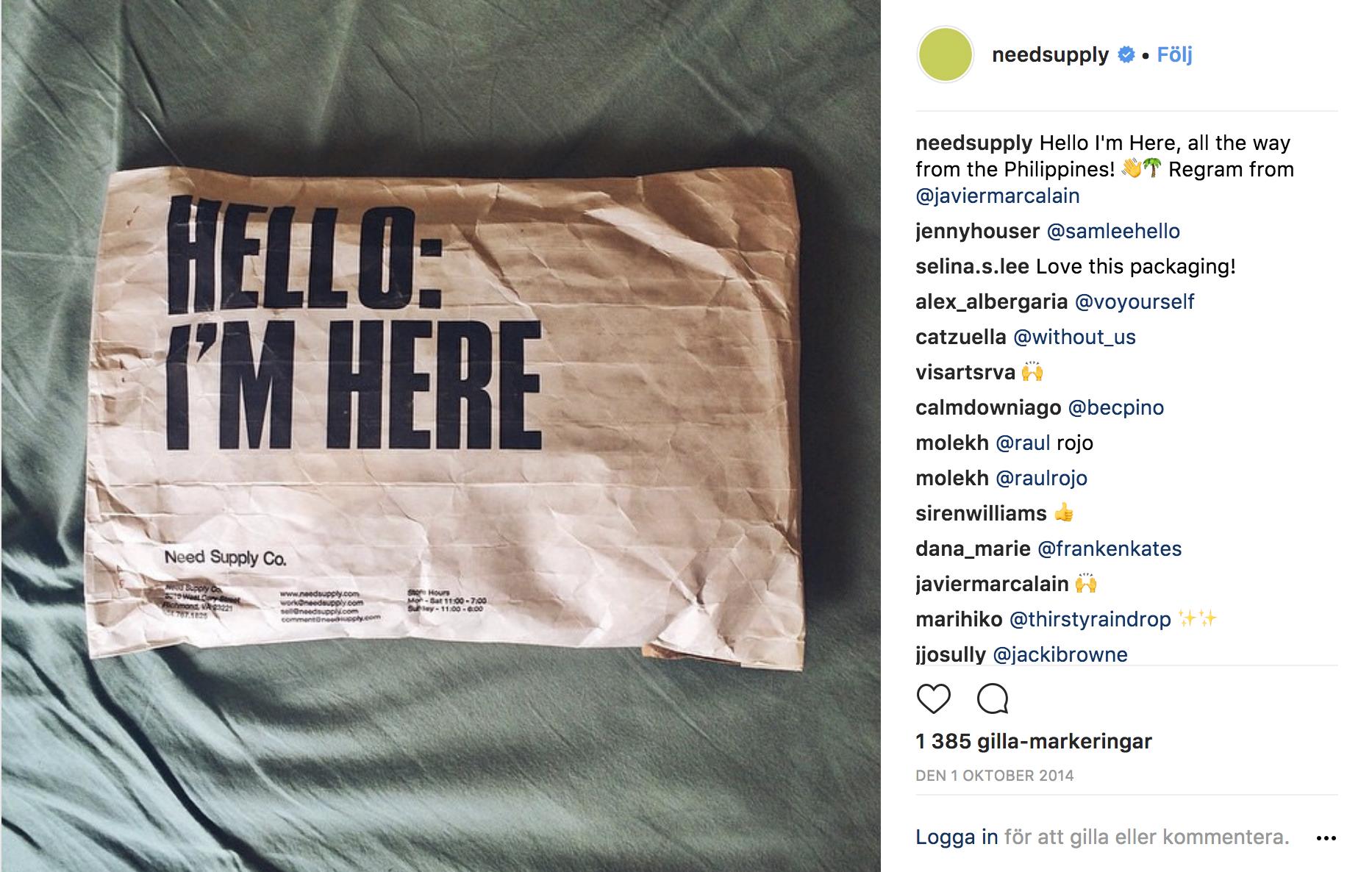 instagramad förpackning från  Need Supply