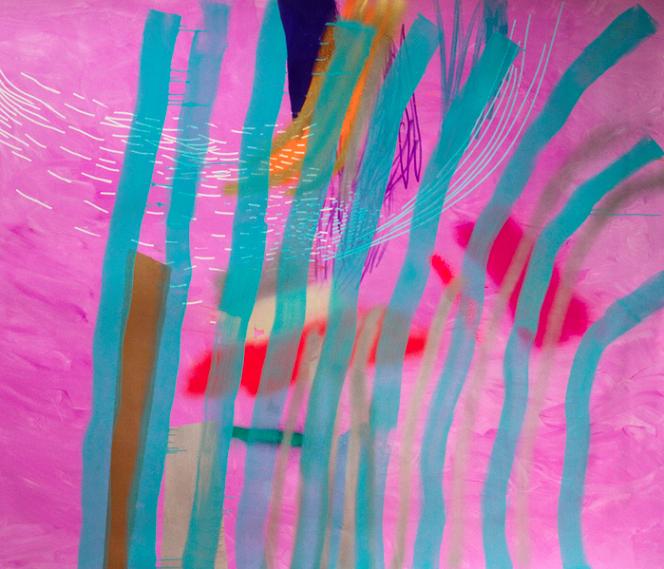 "Denise Treizman, See Through, 2014, acrylic, ink, spray paint, correction tape on canvas, 4' 5"" x 5' 4"""