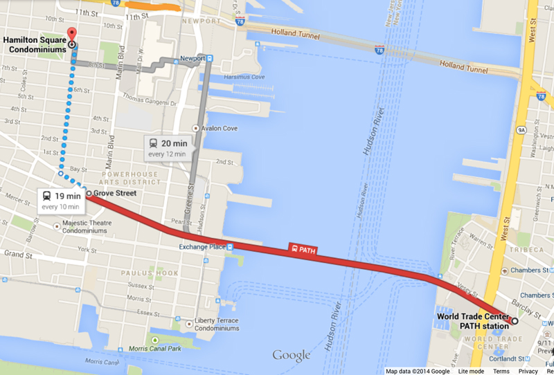 (PATH to GROVE or NEWPORT stops : PATH Trains from WTC, 33rd St, 23rd St, 14th St, 9th St, and Christopher St)