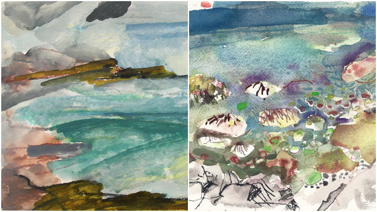 Image Credit: Eliot Markell, Mist at Schoodic (detail), 2011, plein air watercolor and oil pastel on paper, 9 x 11.5 inches and Jeanne Tremel, Schoodic #1 (detail), 2011, plein air watercolor on paper, 6 x 8 inches.