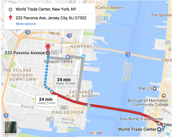 (PATH Train to Grove Stop: PATH Trains from WTC, 33rd, 23rd, 14th, 9th, and Christopher St)