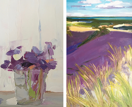 "image L: Gretchen Kummer McGinnis,  Violets , 2016, oil on canvas, 8 x 8"", image R: Pete Hocking,  Backside no.3 , 2017, oil on panel, 24 x 30"""