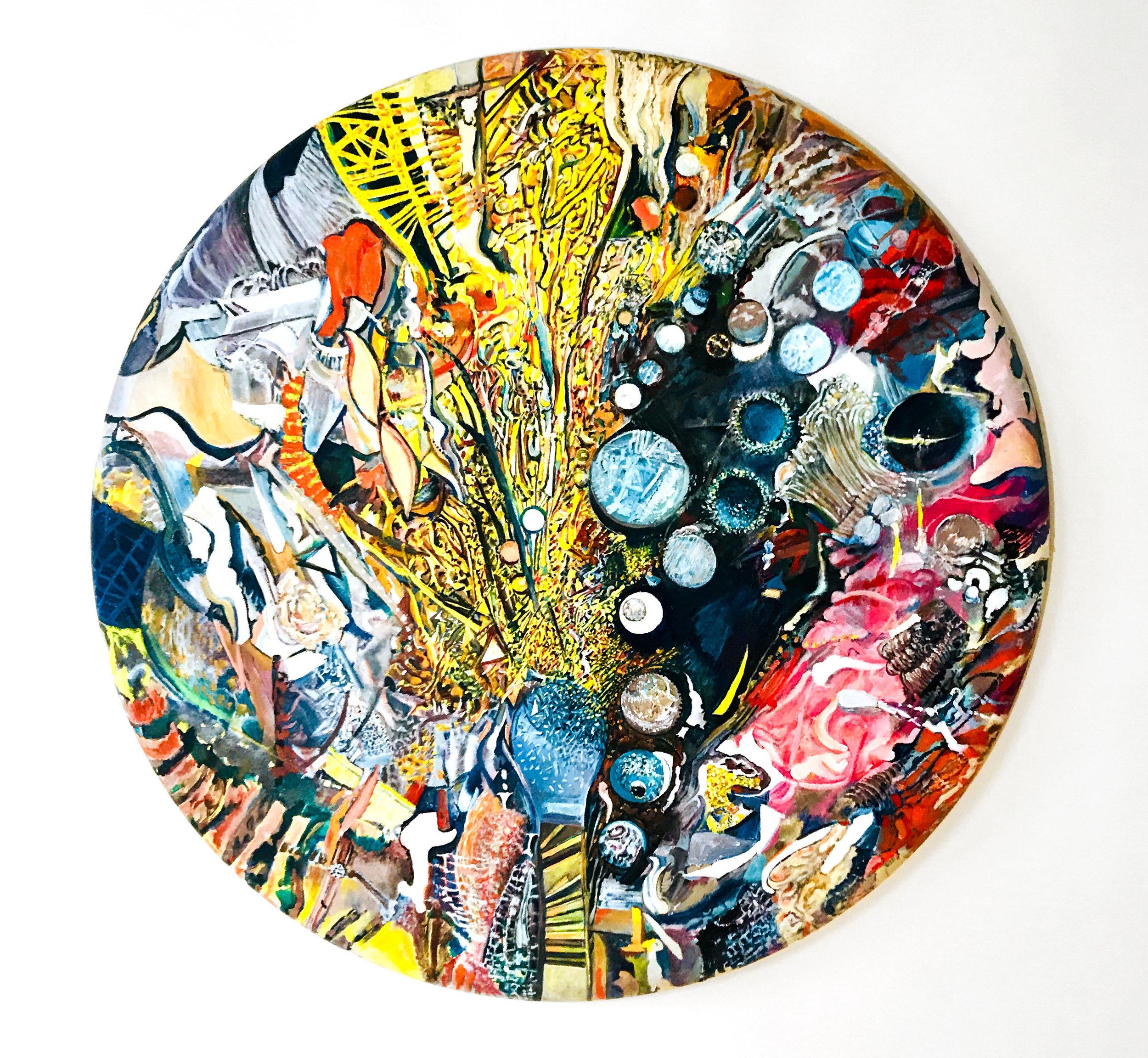 """Bruce Stiglich,  Round #32 , 2015, oil on canvas, 36"""" diameter"""