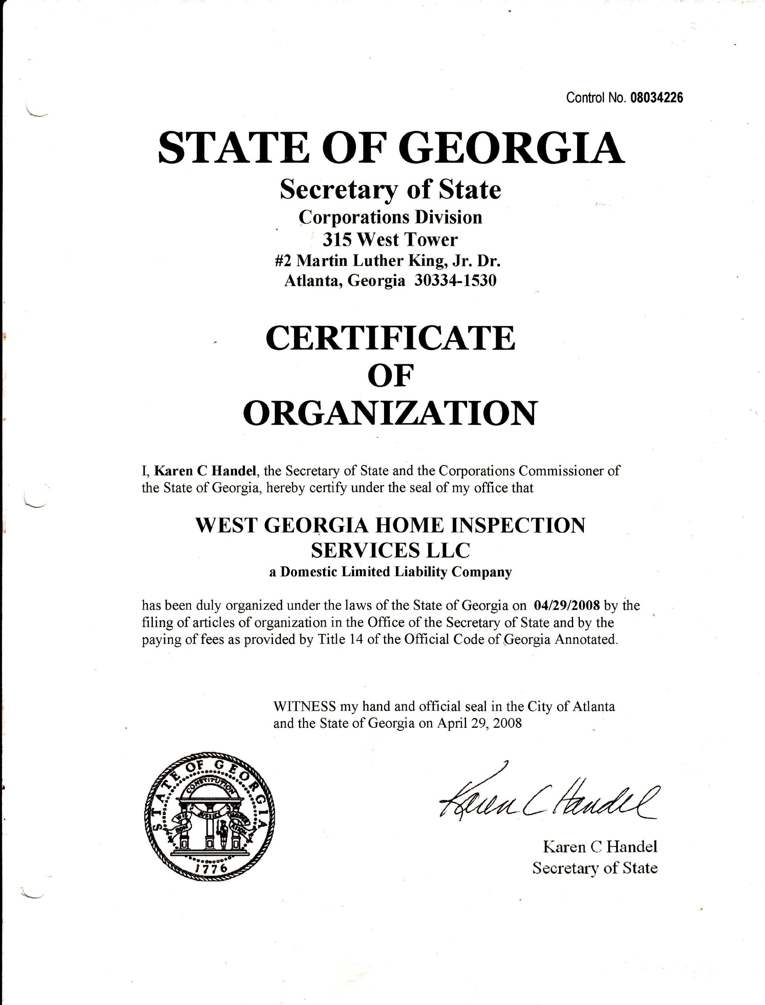 LLC Certificate