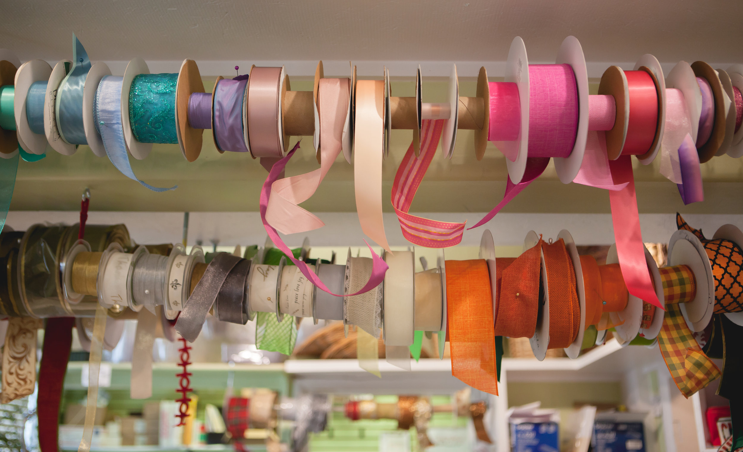 Just a small selection of ribbons that hang from the cieling in the workshop