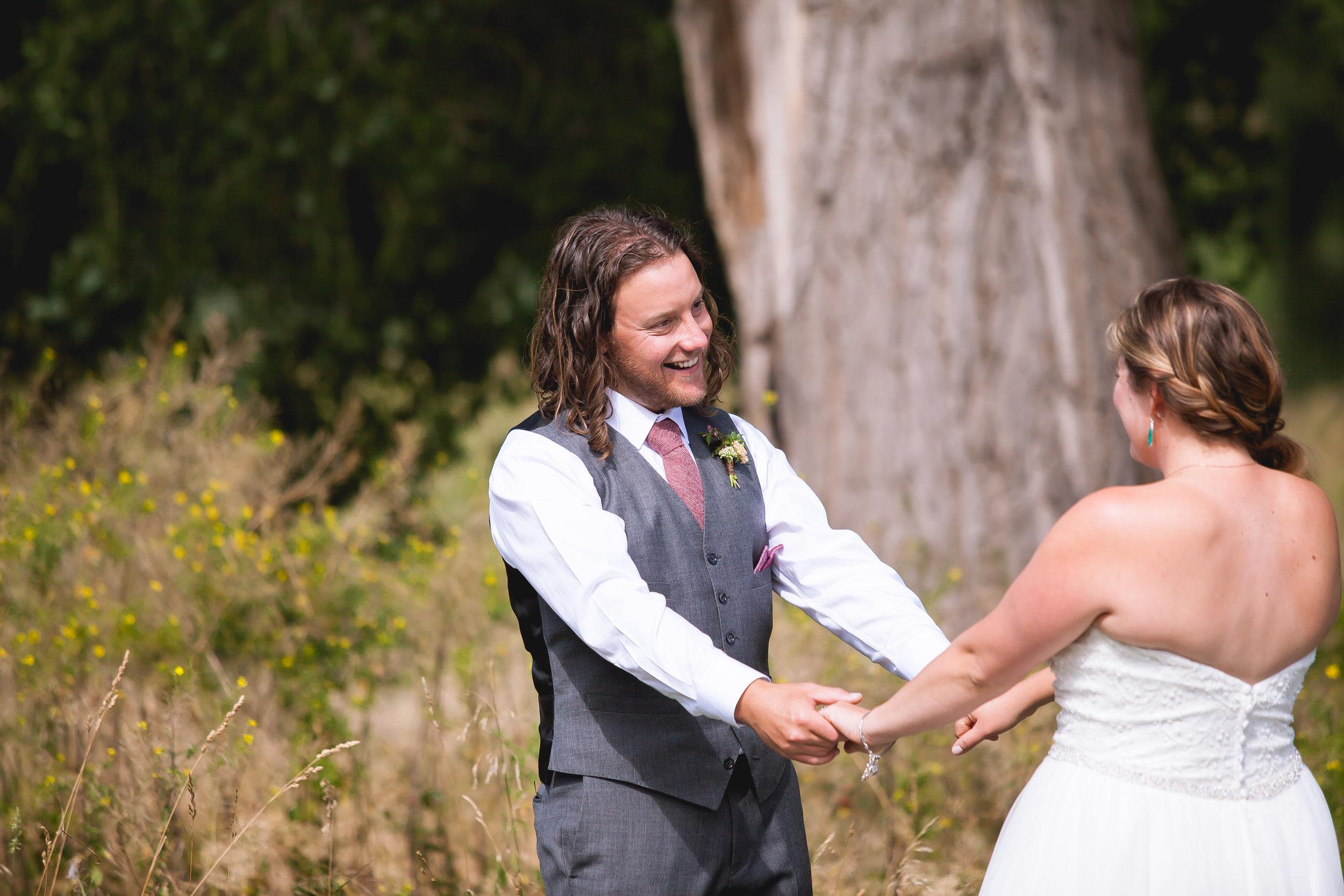 First look durango colorado wedding