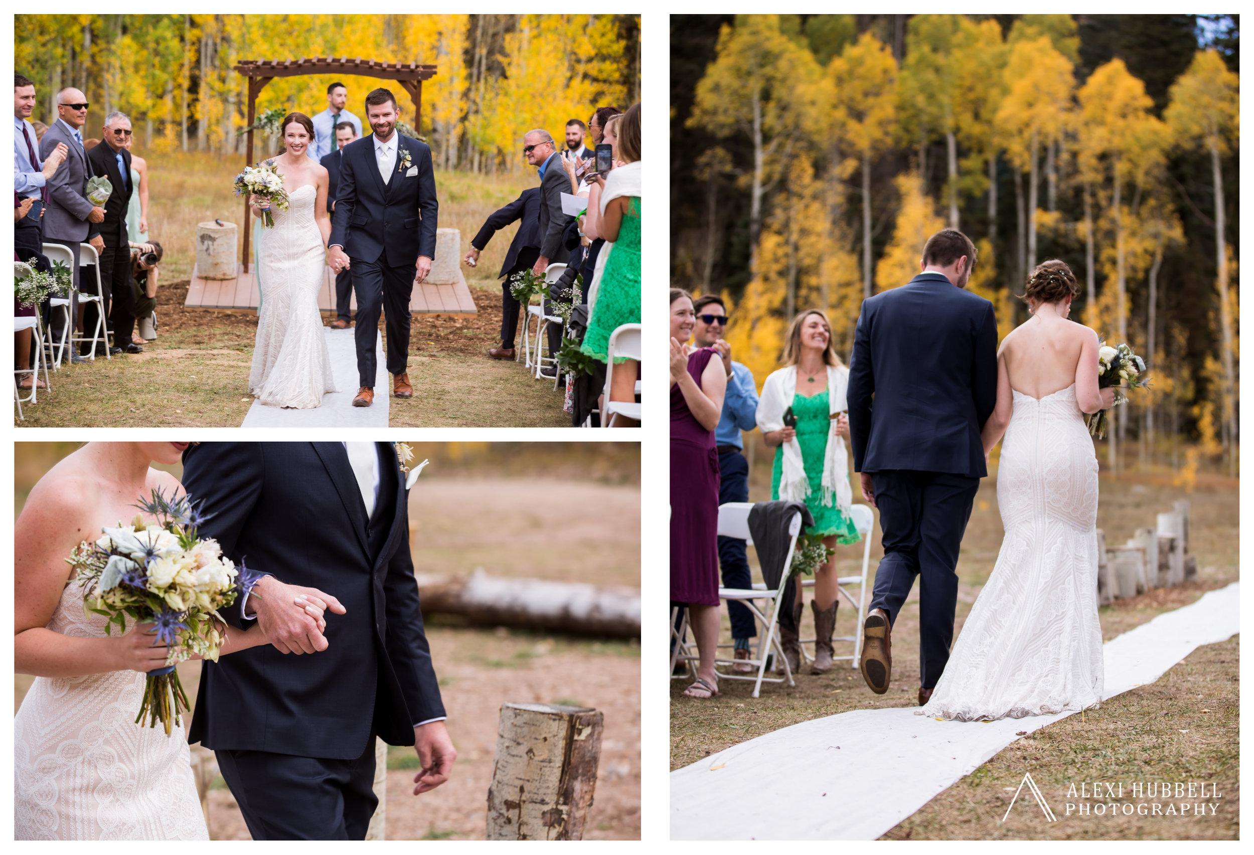 Fall wedding at Cascade Village, Durango, Colorado by Alexi Hubbell Photography