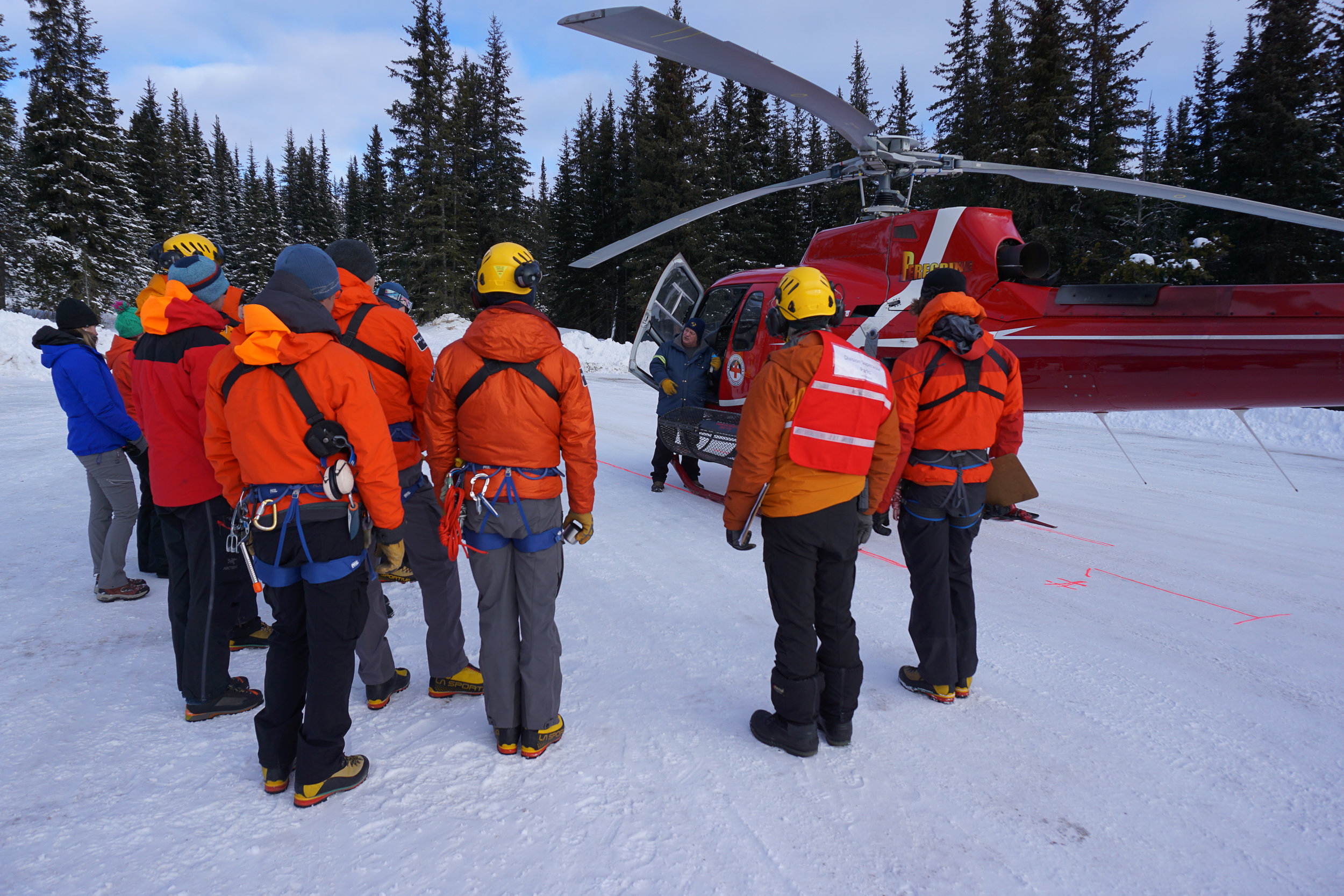 Parks Canada team training on new Boost Systems HEC equipment in Jasper AB.