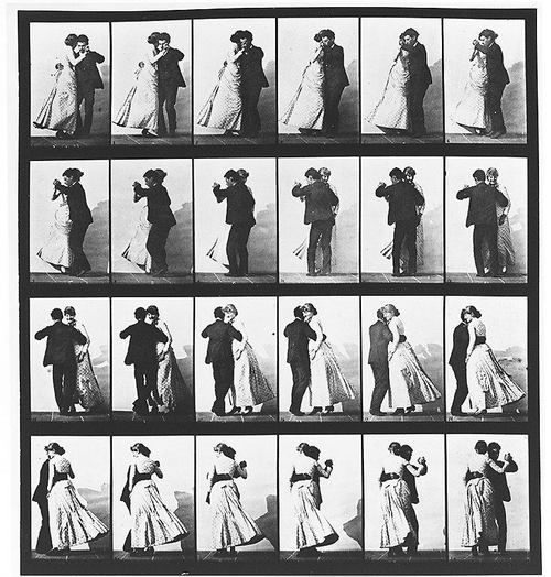 """Plate 197, """"Man and Woman Dancing a Waltz."""" Eadweard Muybridge. Animal locomotion: an electro-photographic investigation of consecutive phases of animal movements. 1872-1885. USC Digital Library, 2010."""