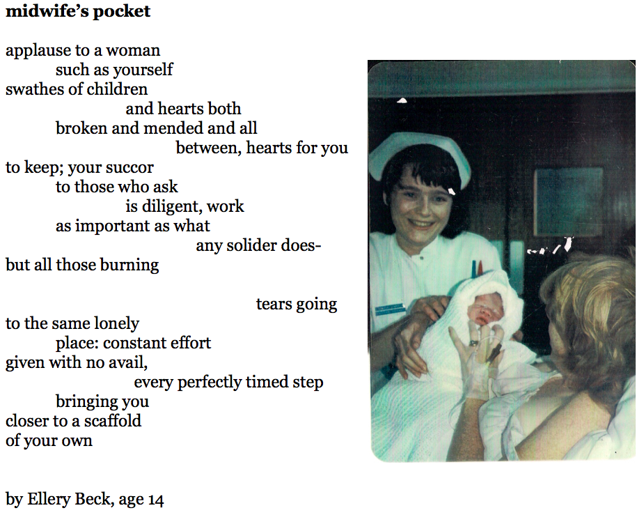 """Image: """" Student Midwife, 1985 """" by Sarah Stewart. Courtesy of a  Creative Commons license ."""