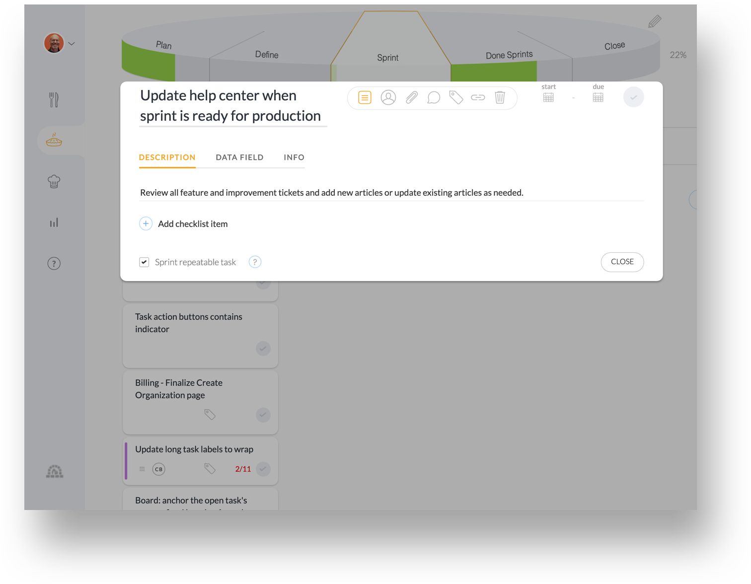 "Bonus: Sprints can include repeatable process steps. - Image an agile sprint that automatically pops up reminder tasks, such as ""Update help center when sprint is ready for production"". You can now sprinkle process steps that improve results in each sprint."