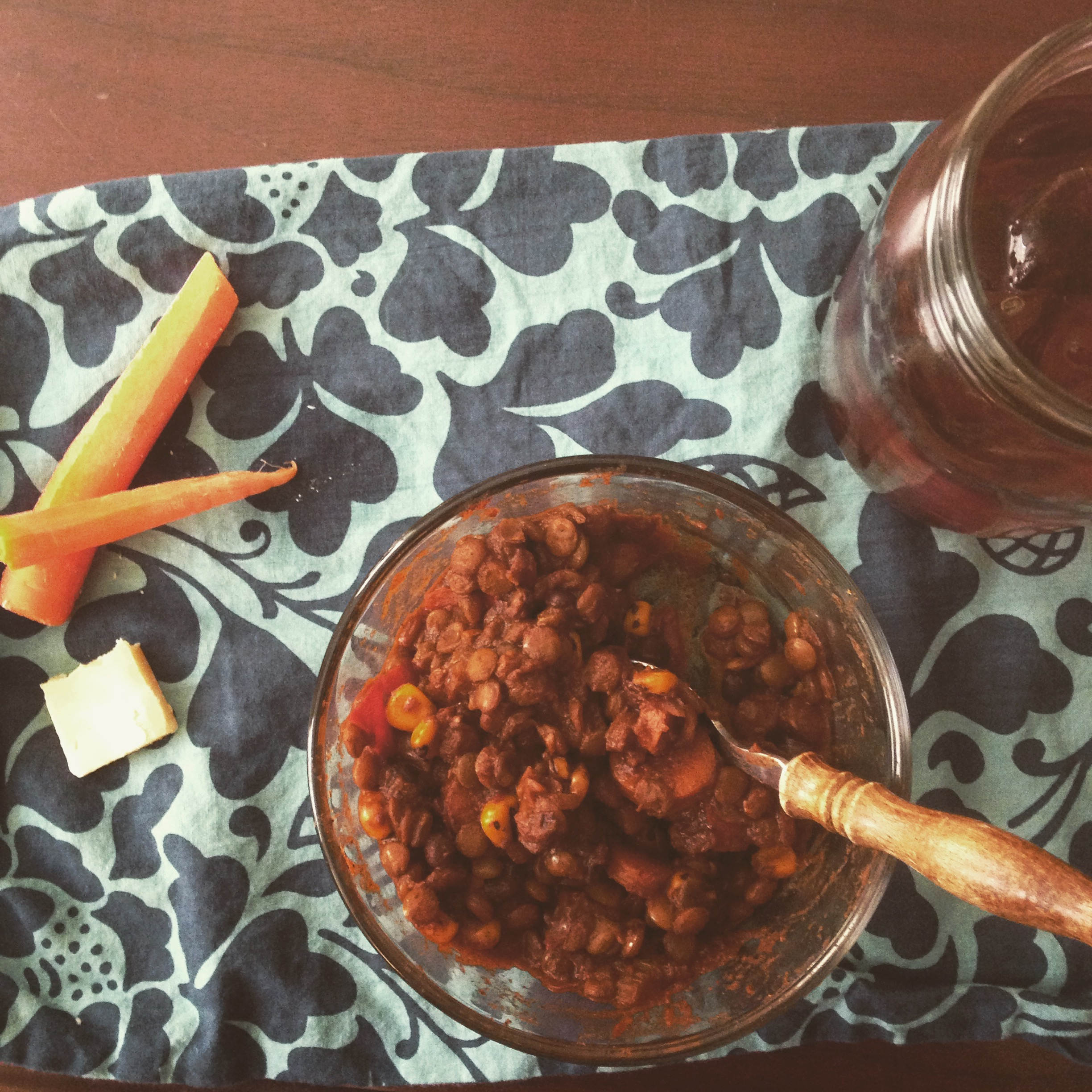 This veggie-lentil chili was so good I turned it into takeout and carried it to work with me the next day.