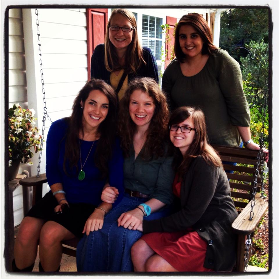 (October 2013) On my grandma's porch just before we left for my bachelorette weekend in the NC mountains. Amanda's the little one in red. <3