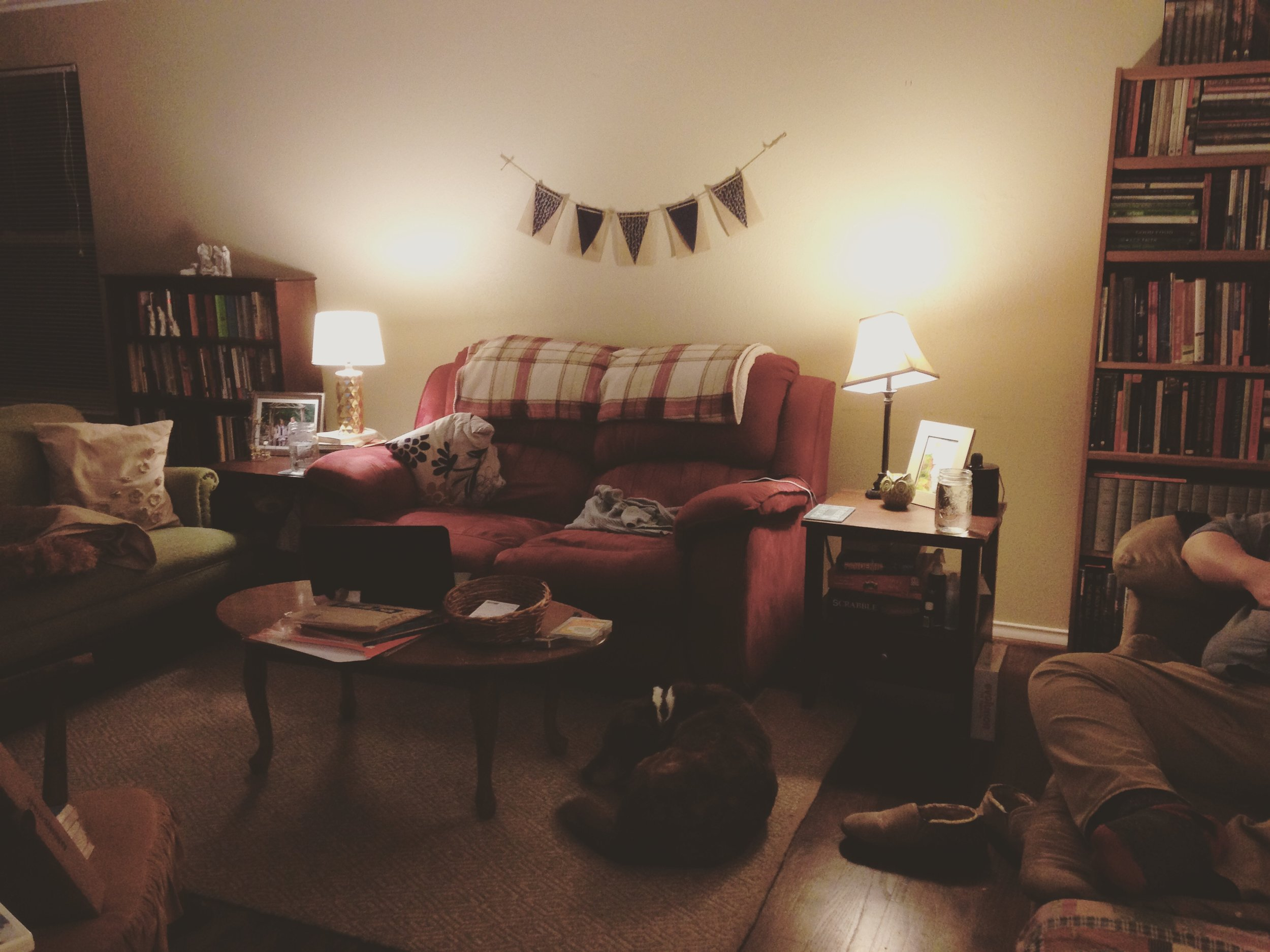 (Example: Our Living Room. Both love seats were hand-me-downs from family members, both bookcases and end tables are from secondhand stores, the brown couch we got for $40 from a neighbor, and literally everything else was a gift.)