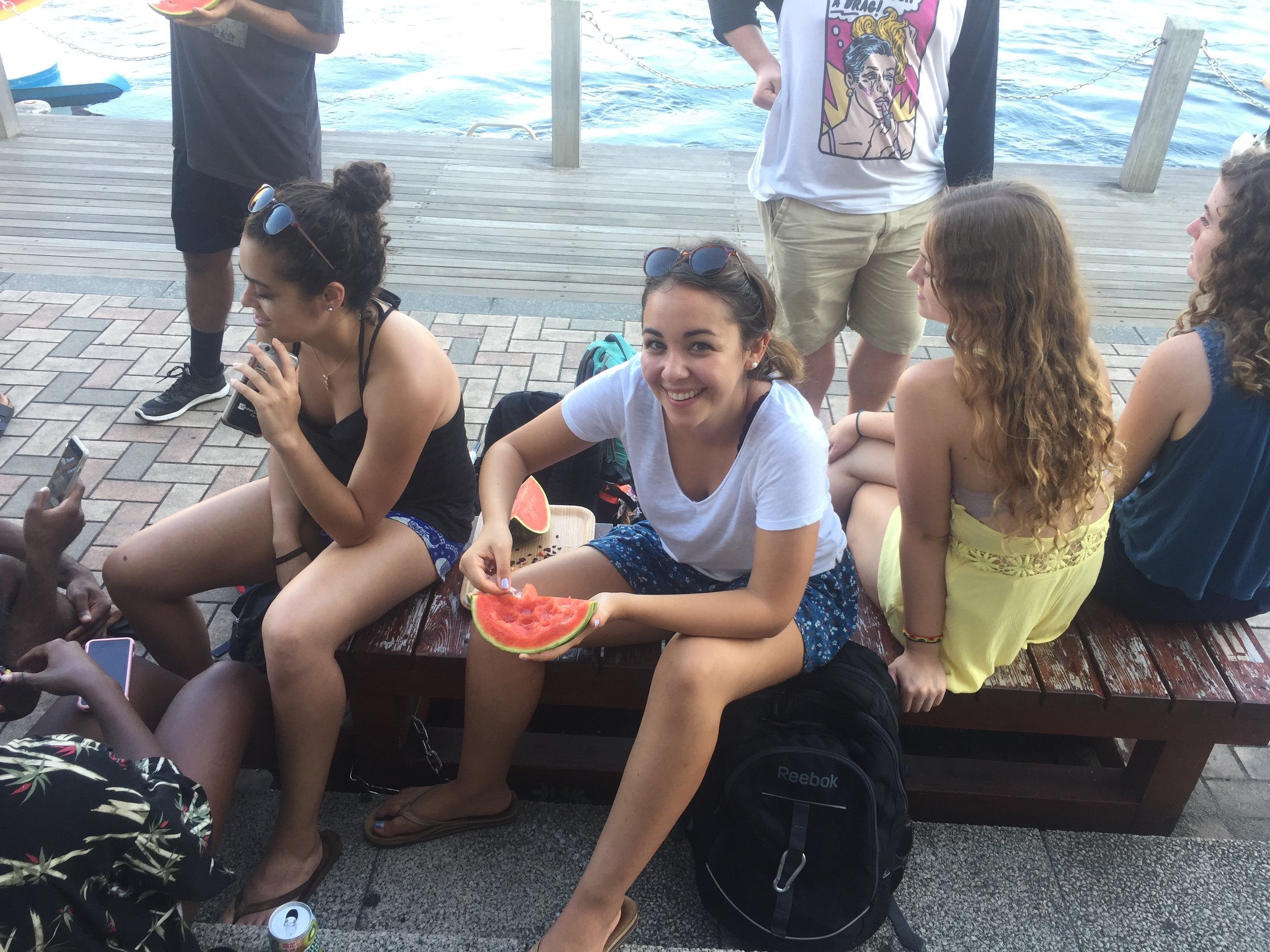 Watermelon on the pier.