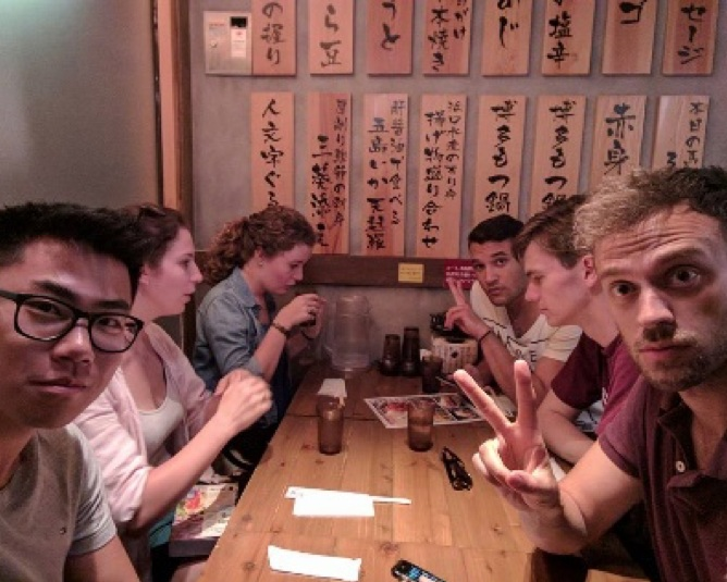 Interns successfully navigating a restaurant with no Japanese skill - job done!