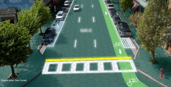 Artist's rendition of a solar road in Sandpoint, Idaho