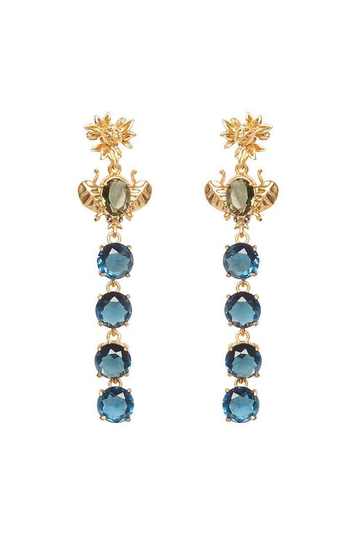 For Love and Lemons Blue Bee Drop Earrings Earrings Product.jpg