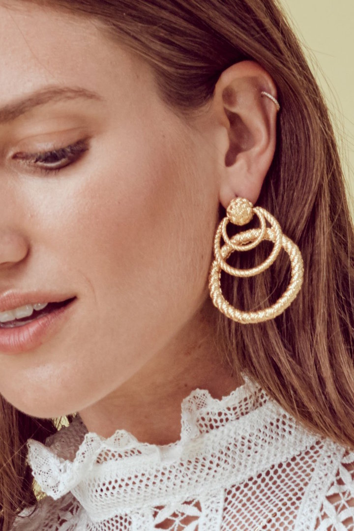 For Love and Lemons Triple Hoop Earrings Model.jpg