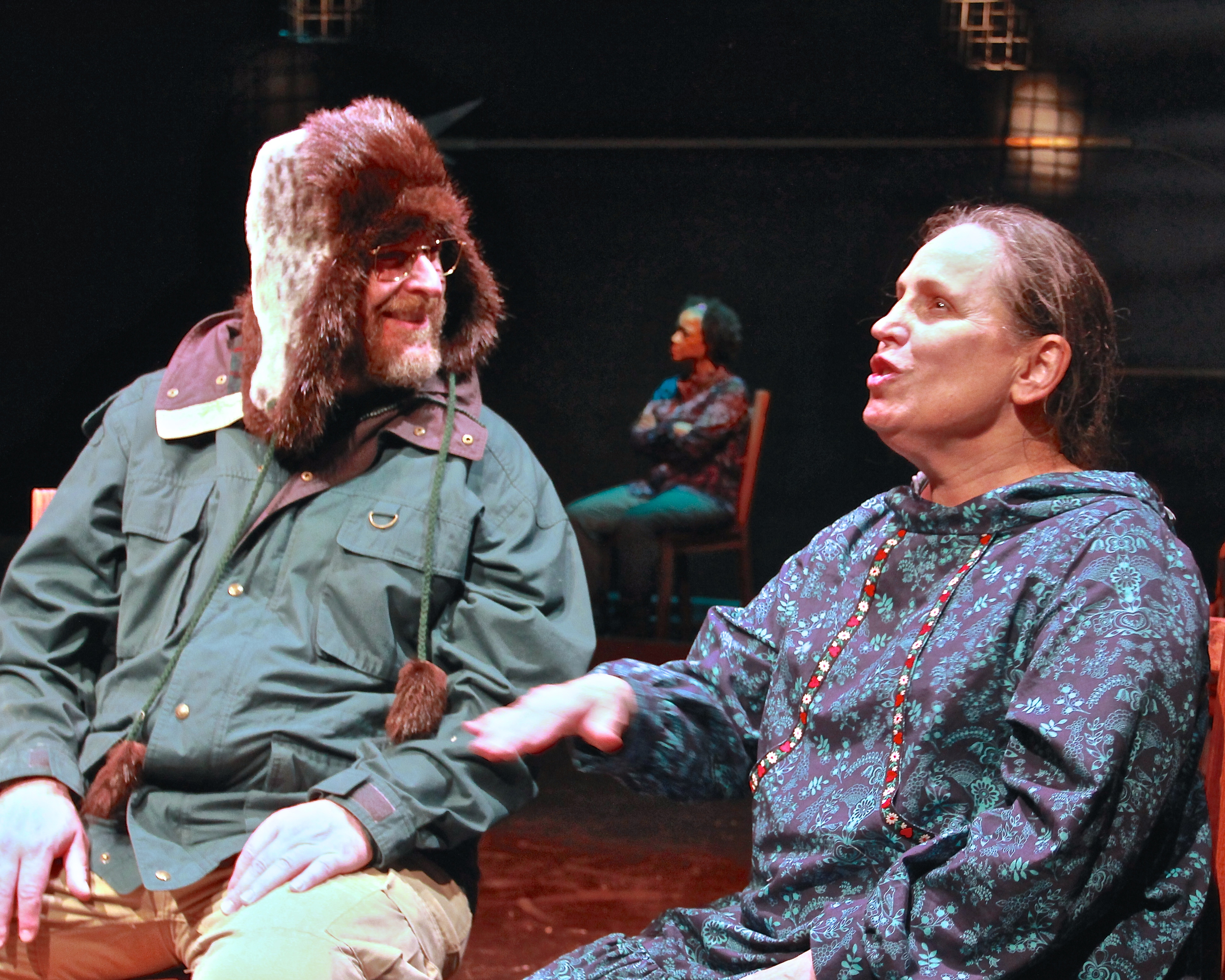 Luke Cole (Damon K Sperber*) and Lucy (Lynne Soffer*), Colleen (Cathleen Riddley*) in background photo credit: Vicki Victoria *Member Actors Equity Association