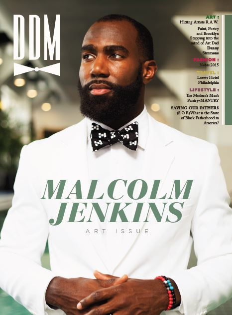 "MALCOLM JENKINS – HE'S JUST THAT COOL - In the heart of Philadelphia, Jenkins melded in with his surroundings, and maintained an effortless command of the camera. Donned in neatly lined blazers and fitted pants, he made all of the threads he delved into look fluid. Of course, the perfect accessory to his duds was none other than bow-tie's from his own collection, Rock Avenue Bow Ties. According to Jenkins, this all started because ""I was complaining to my wife [Morissa] saying that I couldn't find what I liked. I wanted something less stuff and more me. She said make your own."""