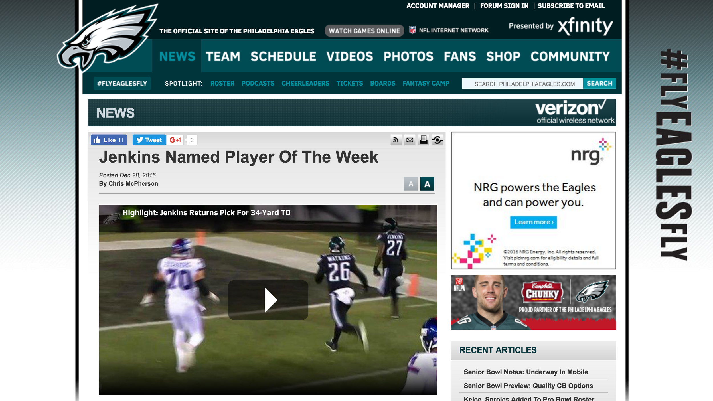 PLAYER OF THE WEEK - Safety Malcolm Jenkins was named the NFC's Defensive Player of the Week for his performance in last Thursday night's win over the New York Giants.