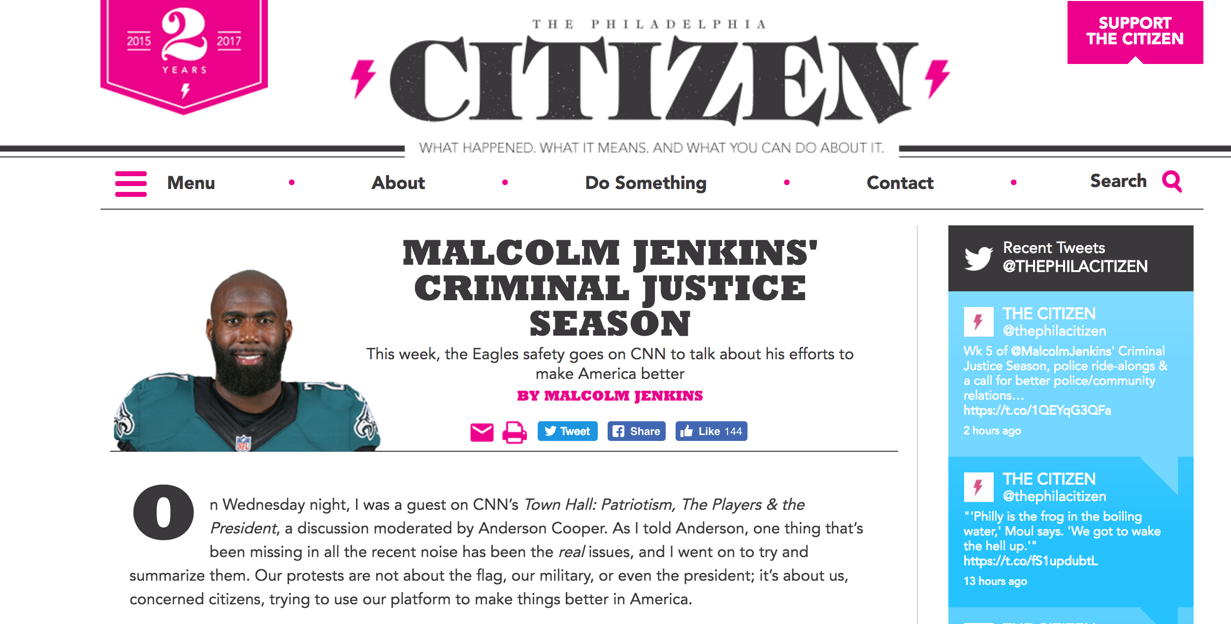 Malcolm Jenkins Criminal Justice Season - Our protests are not about the flag, our military, or even the president; it's about us, concerned citizens, trying to use our platform to make things better in America. Check out my segment...
