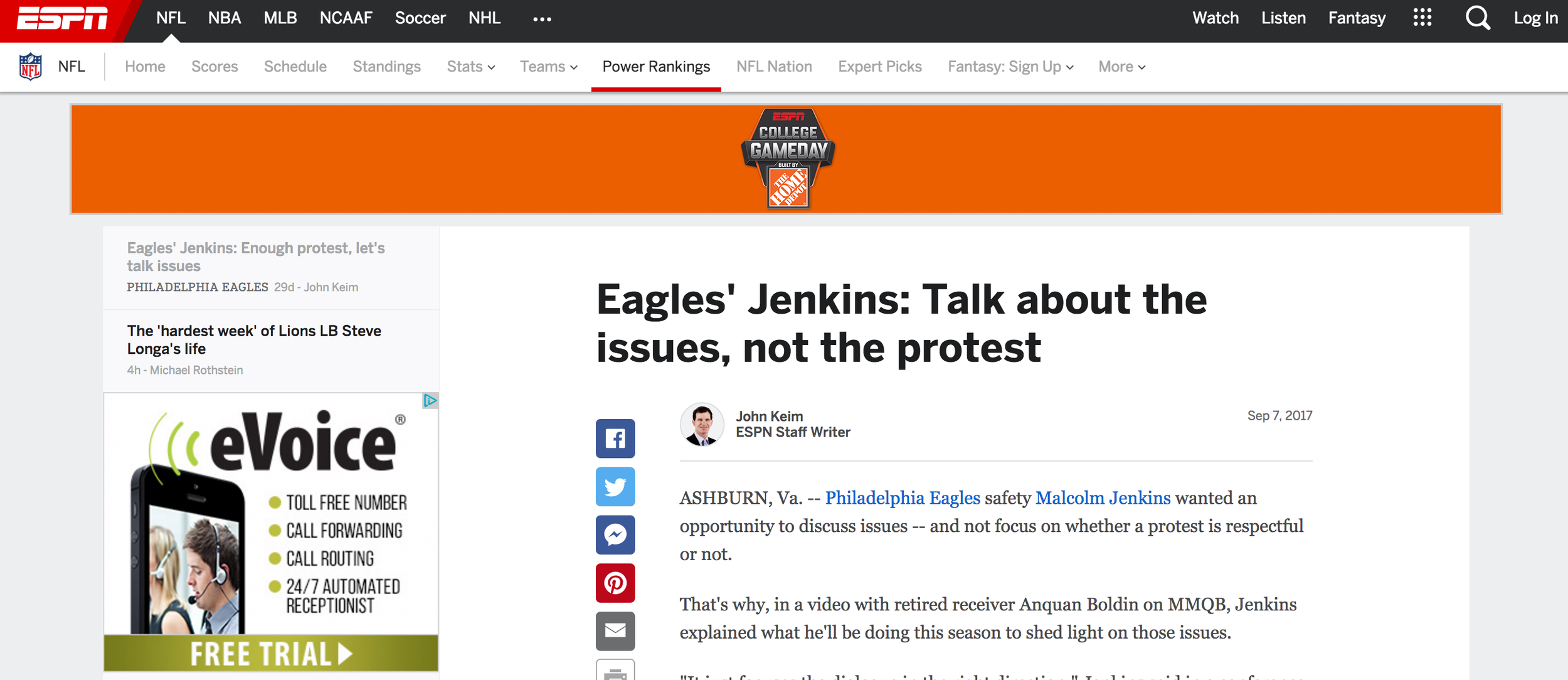 Malcolm Jenkins: Talk About the Issues Not the Protest -