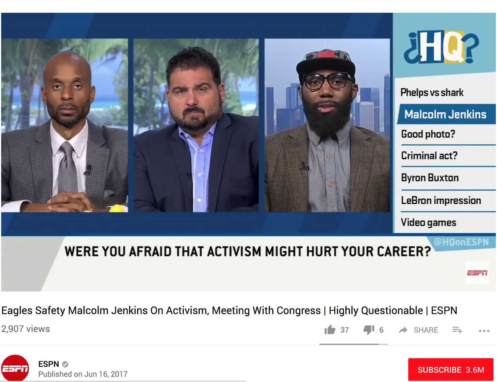 Highly Questionable -  Philadelphia Eagles safety Malcolm Jenkins joins Highly Questionable to share what inspired his activism and his experiences meeting with Congress and the police.