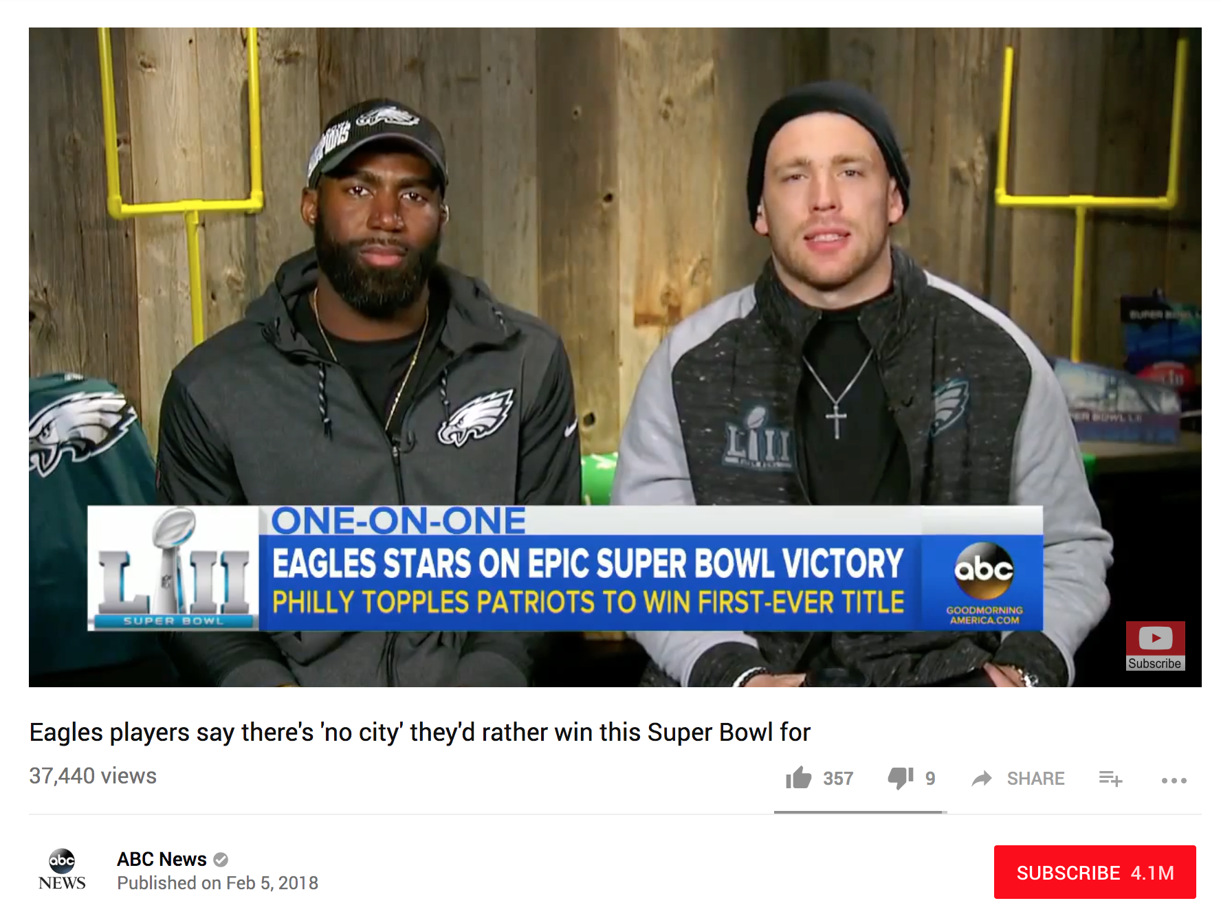 Good Morning America - Malcolm Jenkins and Zach Ertz talked to