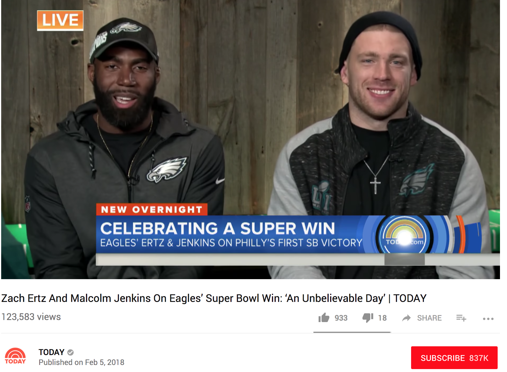 "TODAY Show -  On the morning after their team's upset victory over the New England Patriots in Super Bowl LII, Philadelphia Eagles safety Malcolm Jenkins and tight end Zach Ertz join TODAY live. ""We're so excited to bring this trophy back,"" Jenkins says. ""It was an unbelievable day,"" Ertz adds, calling the game ""a full 60-minute fight."""